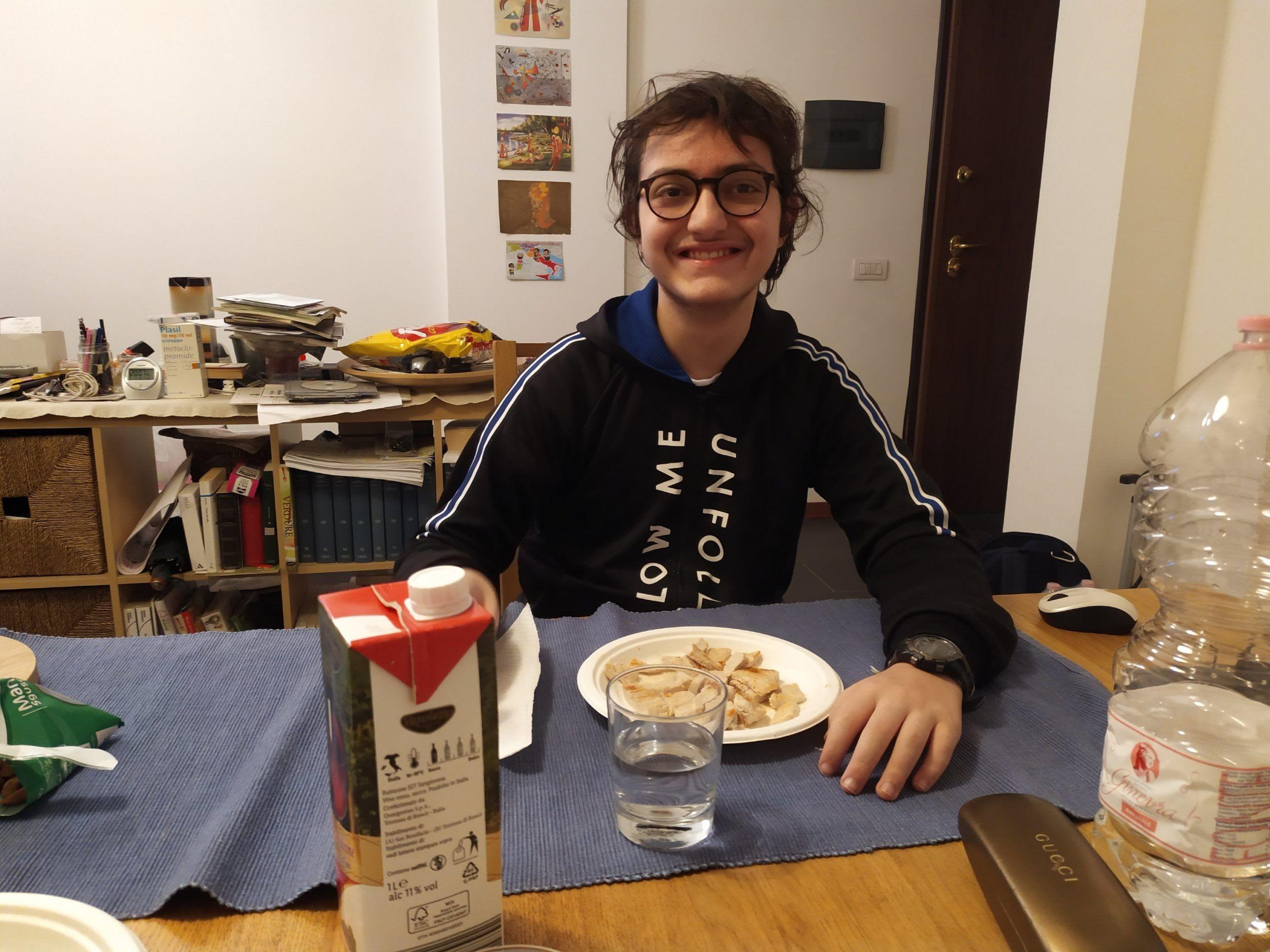 Eugenio a cena a casa Roma