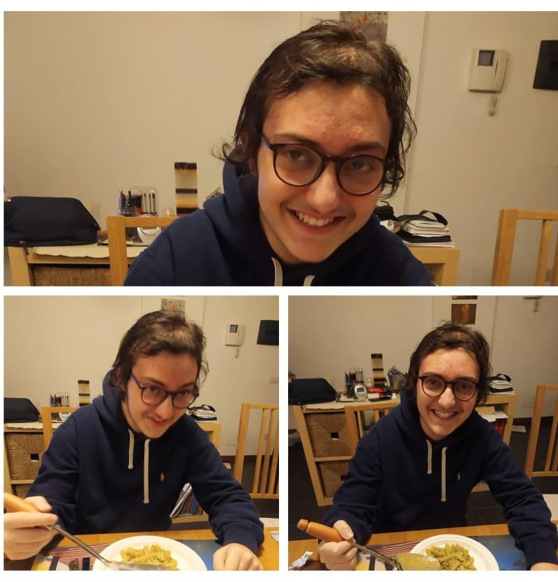 collage Eugenio mangia la pasta a casa Roma