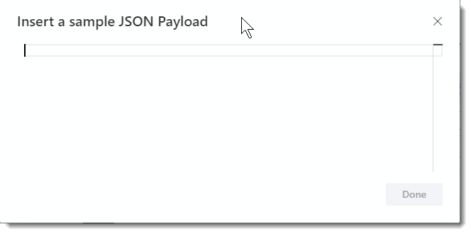 Insert a sample JSON Payload dialog box