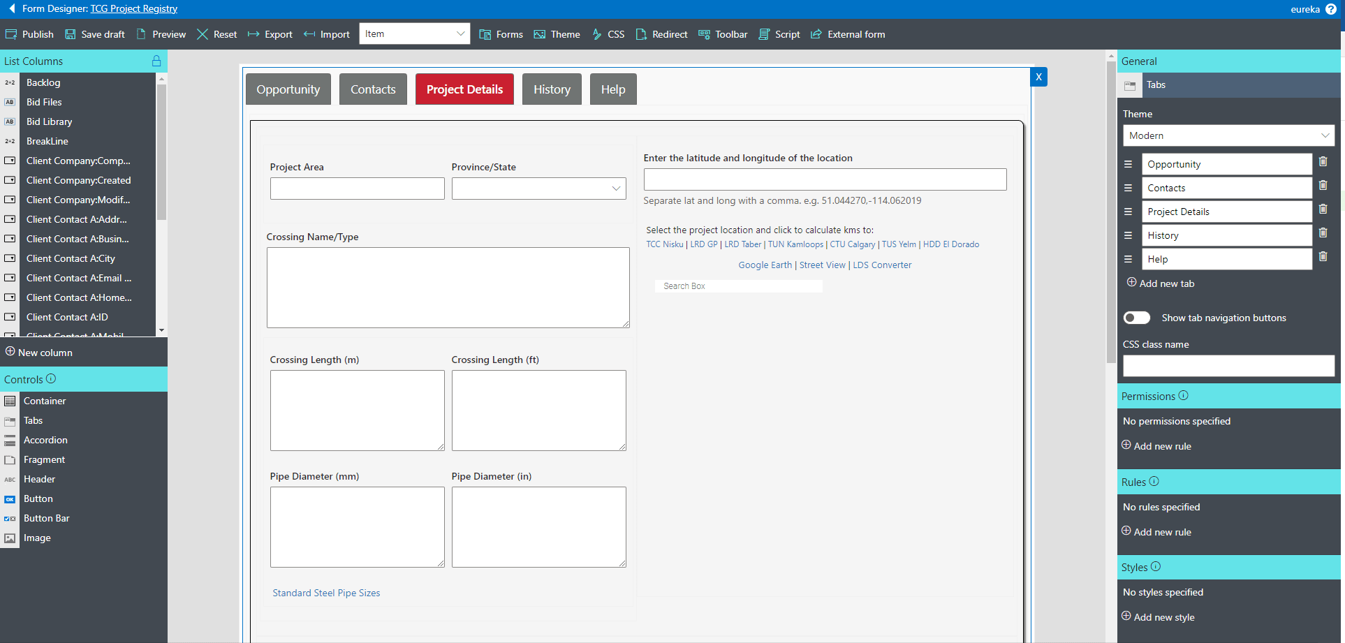 Infowise Form Design Interface