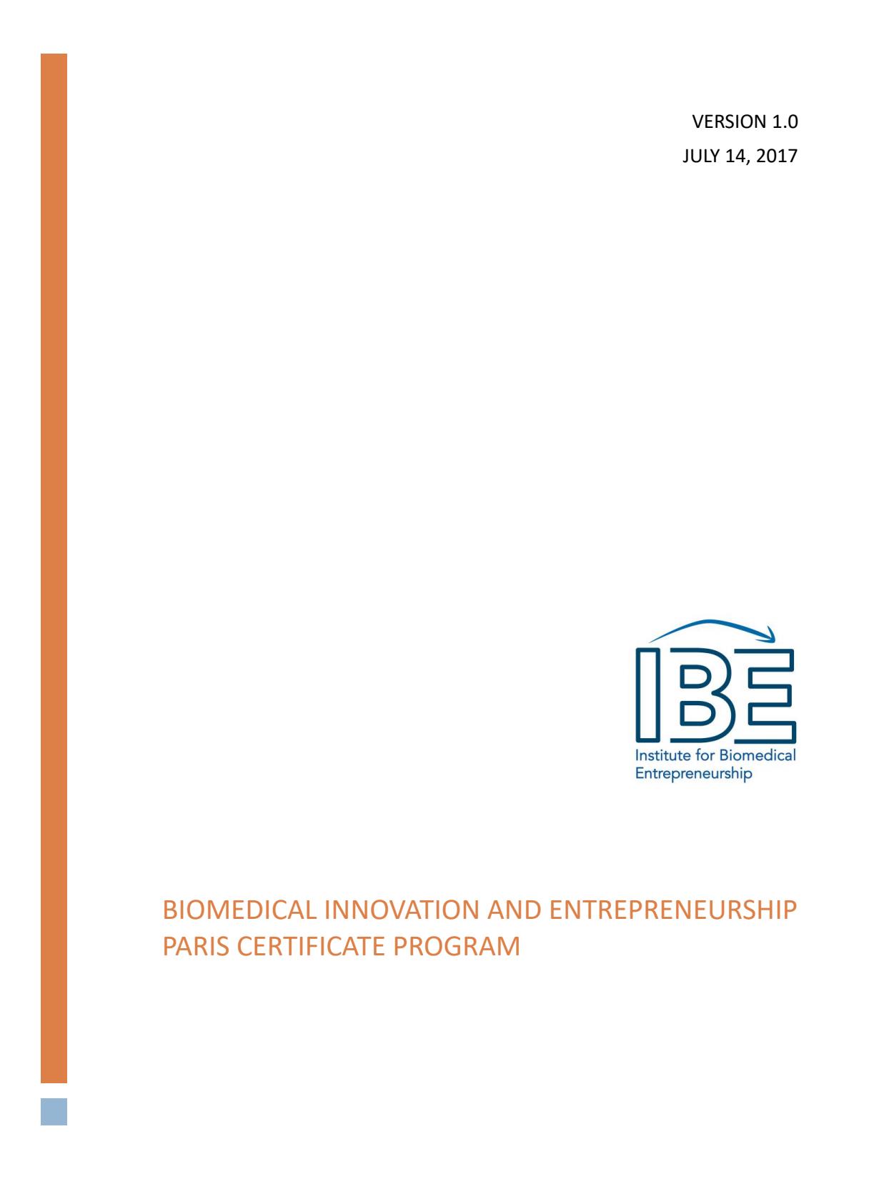 Ibe Paris Course Information