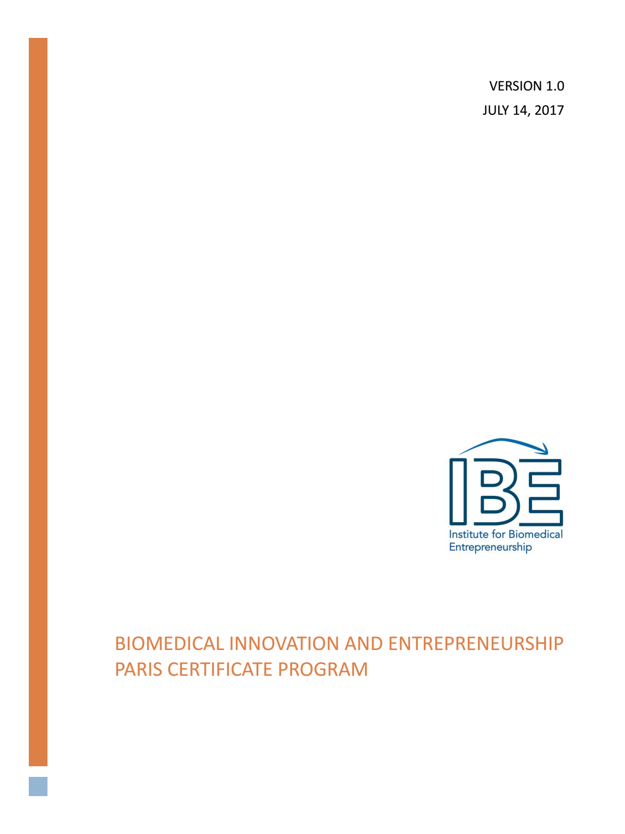 Ibe Paris Course Information