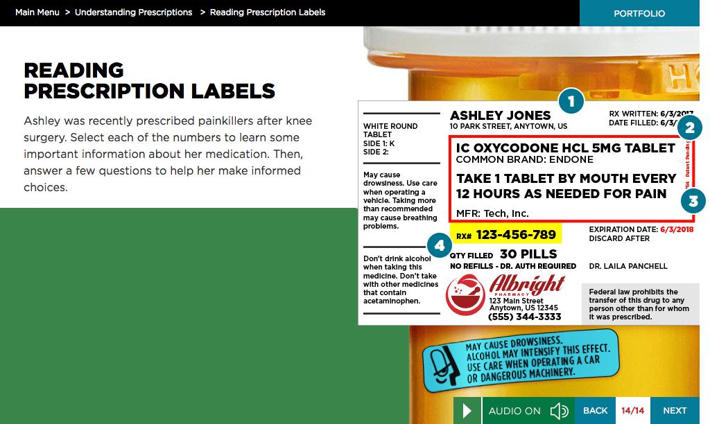 Screen shot of EVERFI's Prescription Drug Safety Course