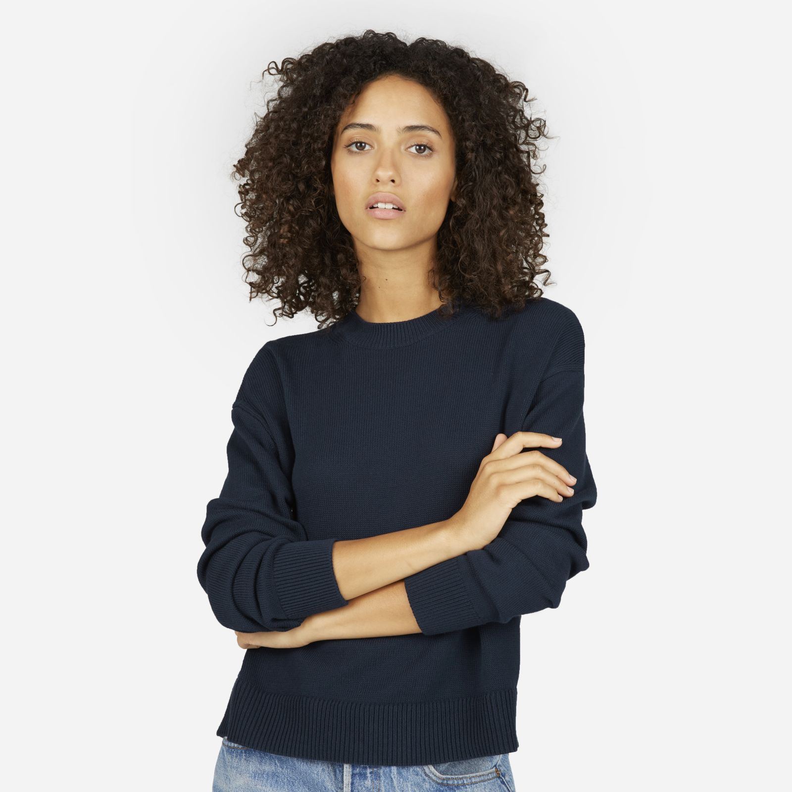 women's cotton long-sleeve crew sweater by everlane in navy, size xl