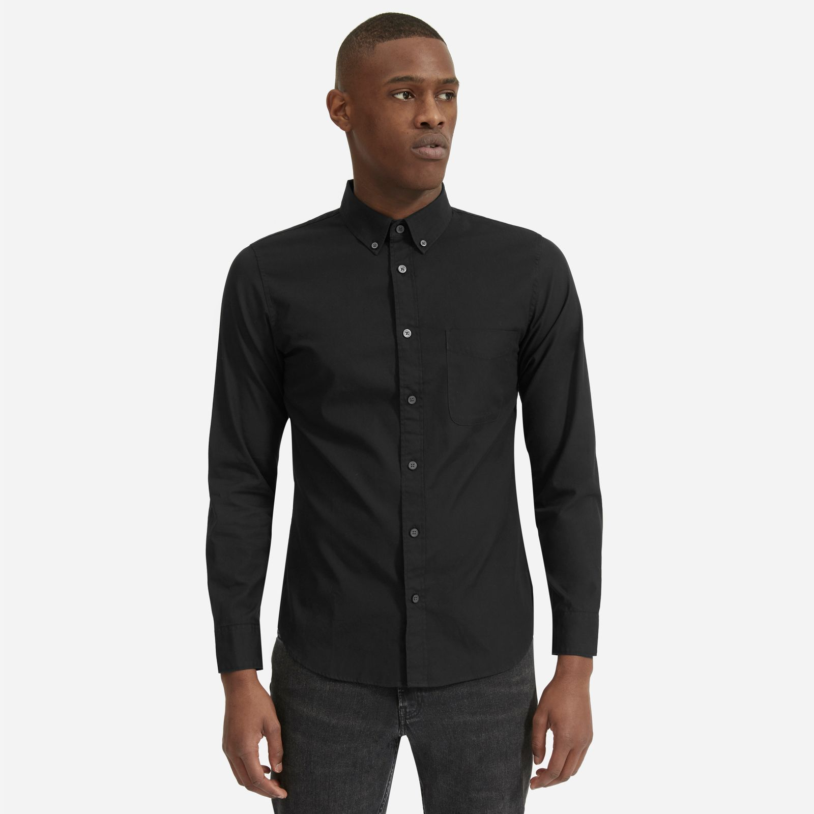 men's air oxford shirt by everlane in black, size l