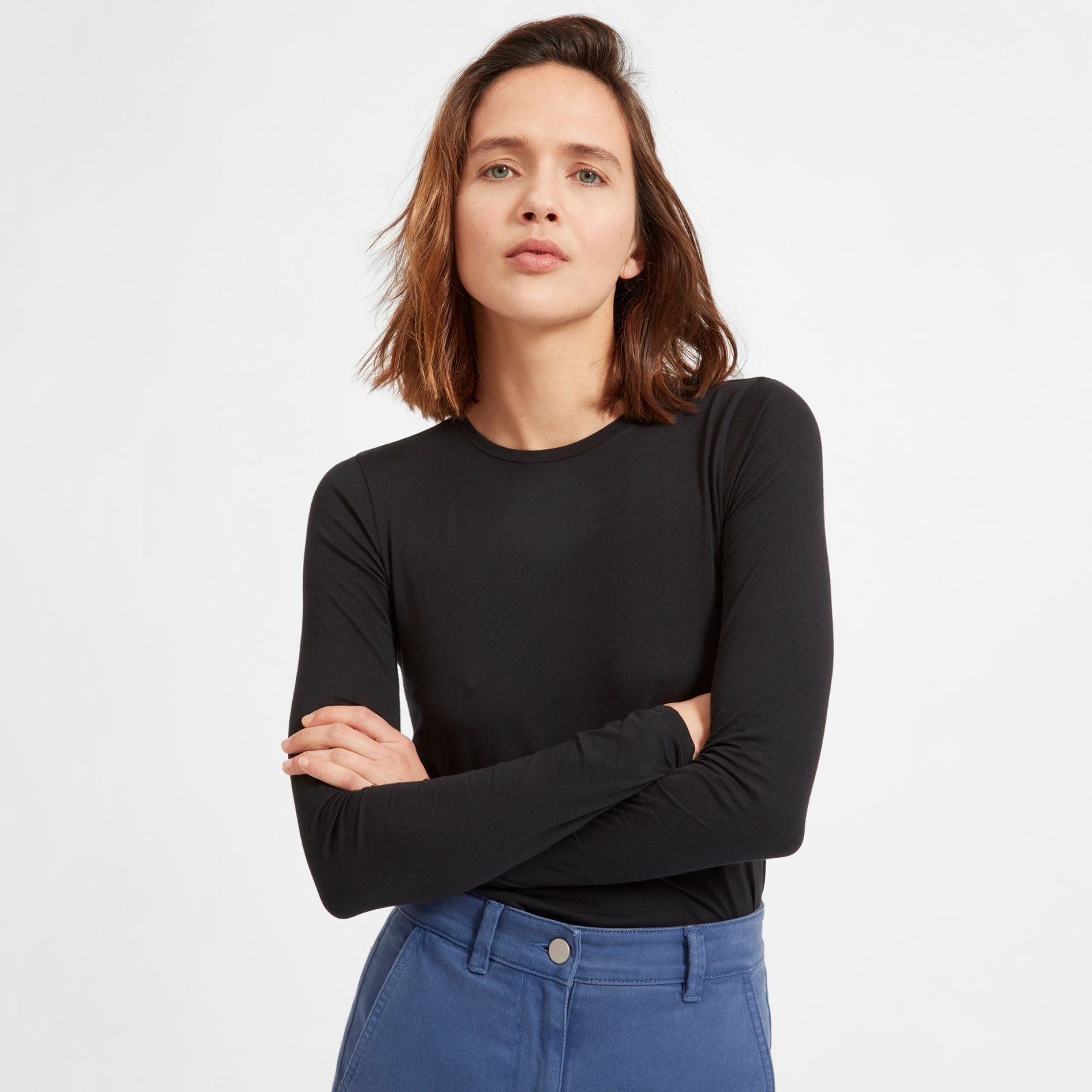 women's pima stretch long-sleeve t-shirt by everlane in black, size l