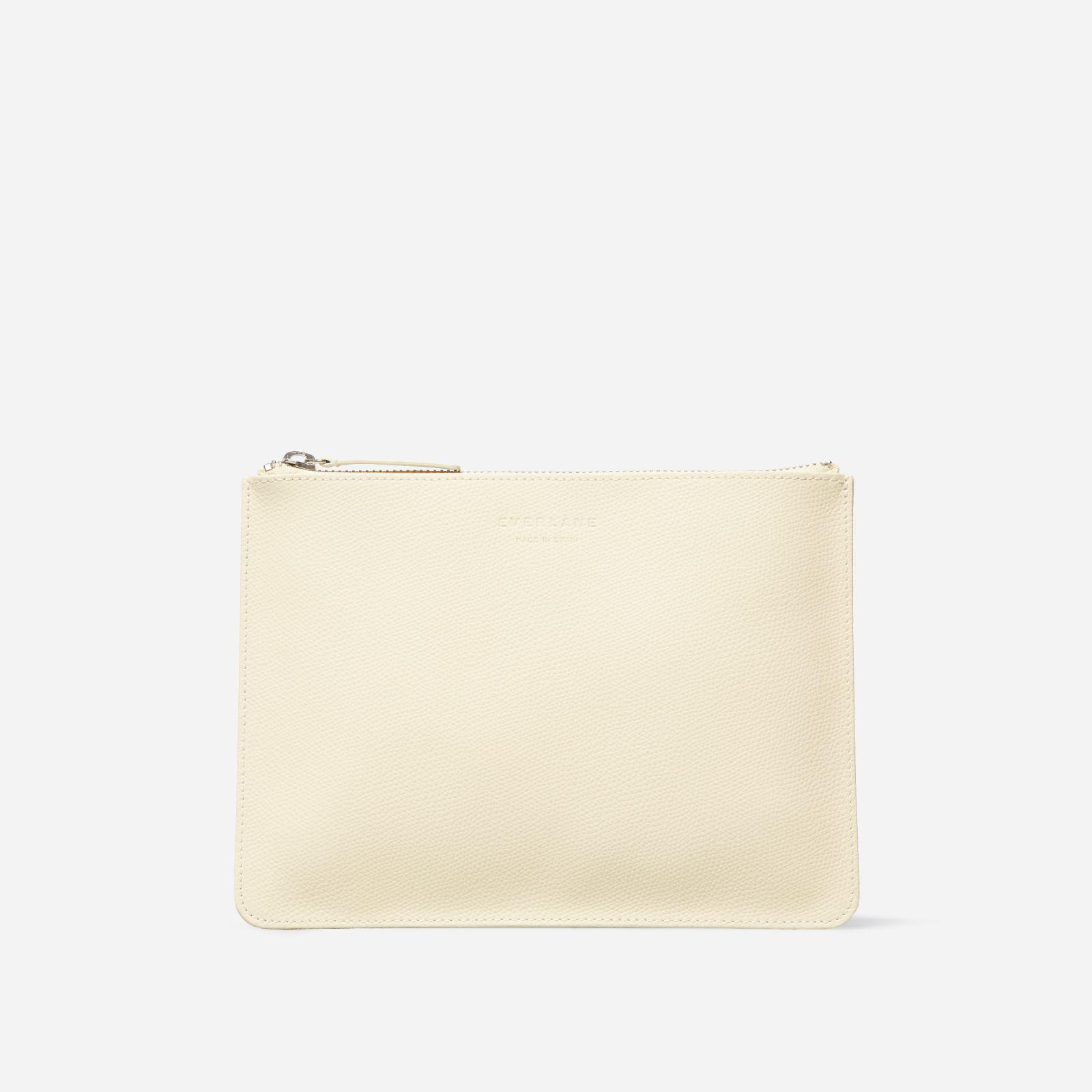women's leather zip pouch by everlane in bone