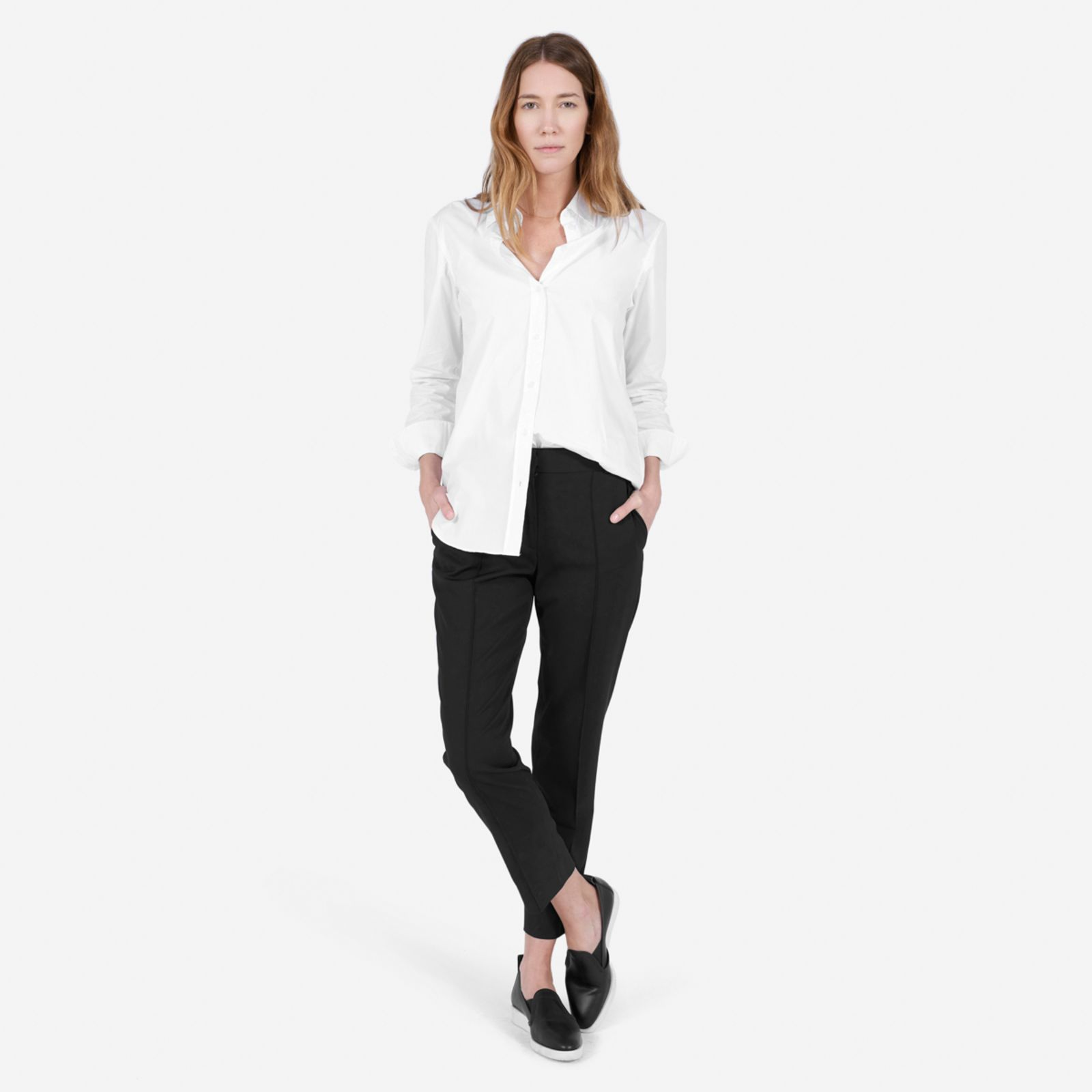 women's relaxed poplin shirt by everlane in white, size 12