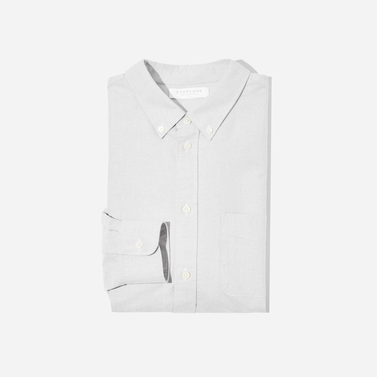 men's japanese slim fit oxford shirt by everlane in denim/navy, size xl