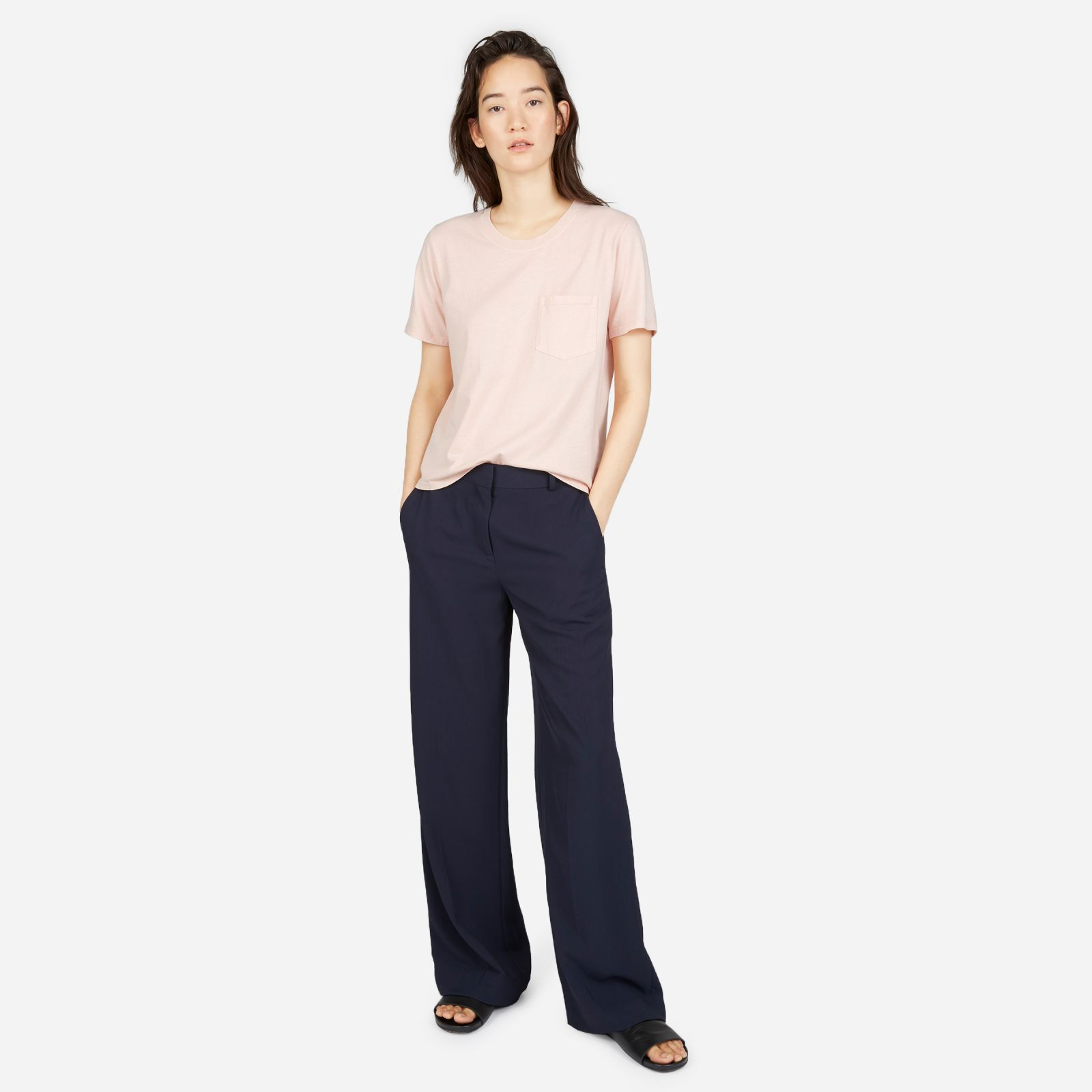 women's cotton box-cut pocket t-shirt by everlane in rose, size xl