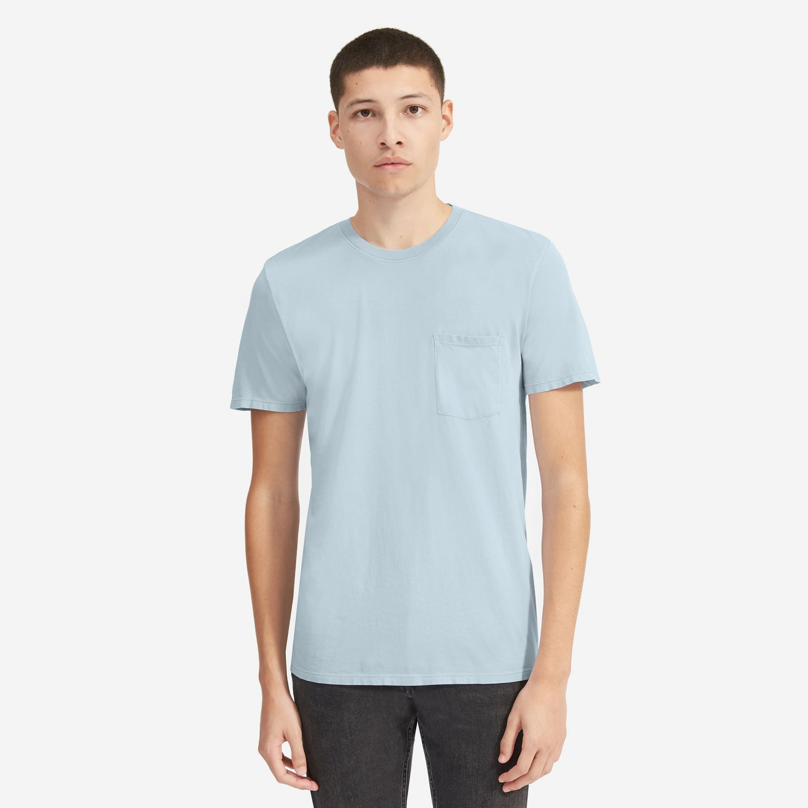 men's cotton pocket t-shirt | uniform by everlane in light blue, size xl