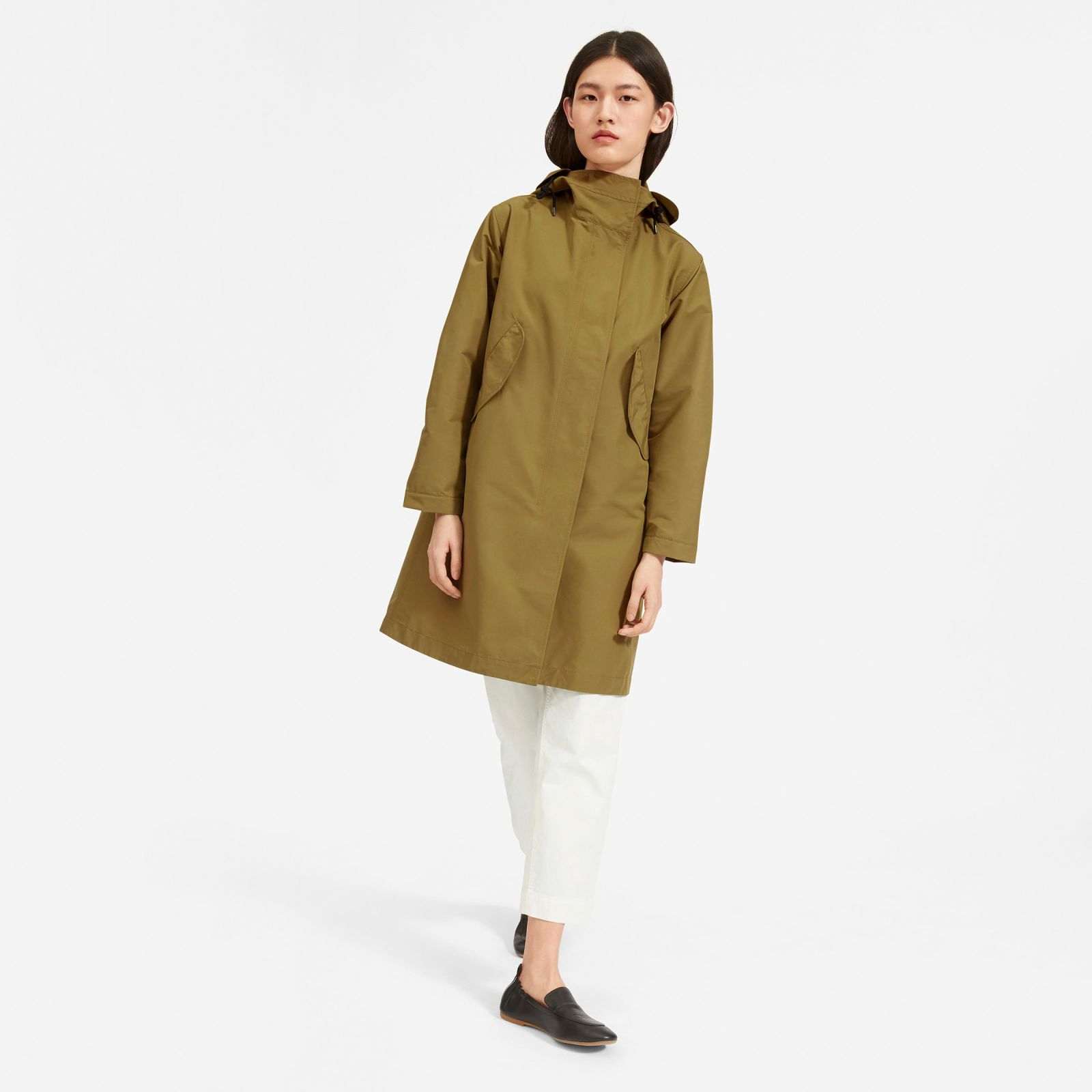 women's renew anorak jacket by everlane in olive, size xl