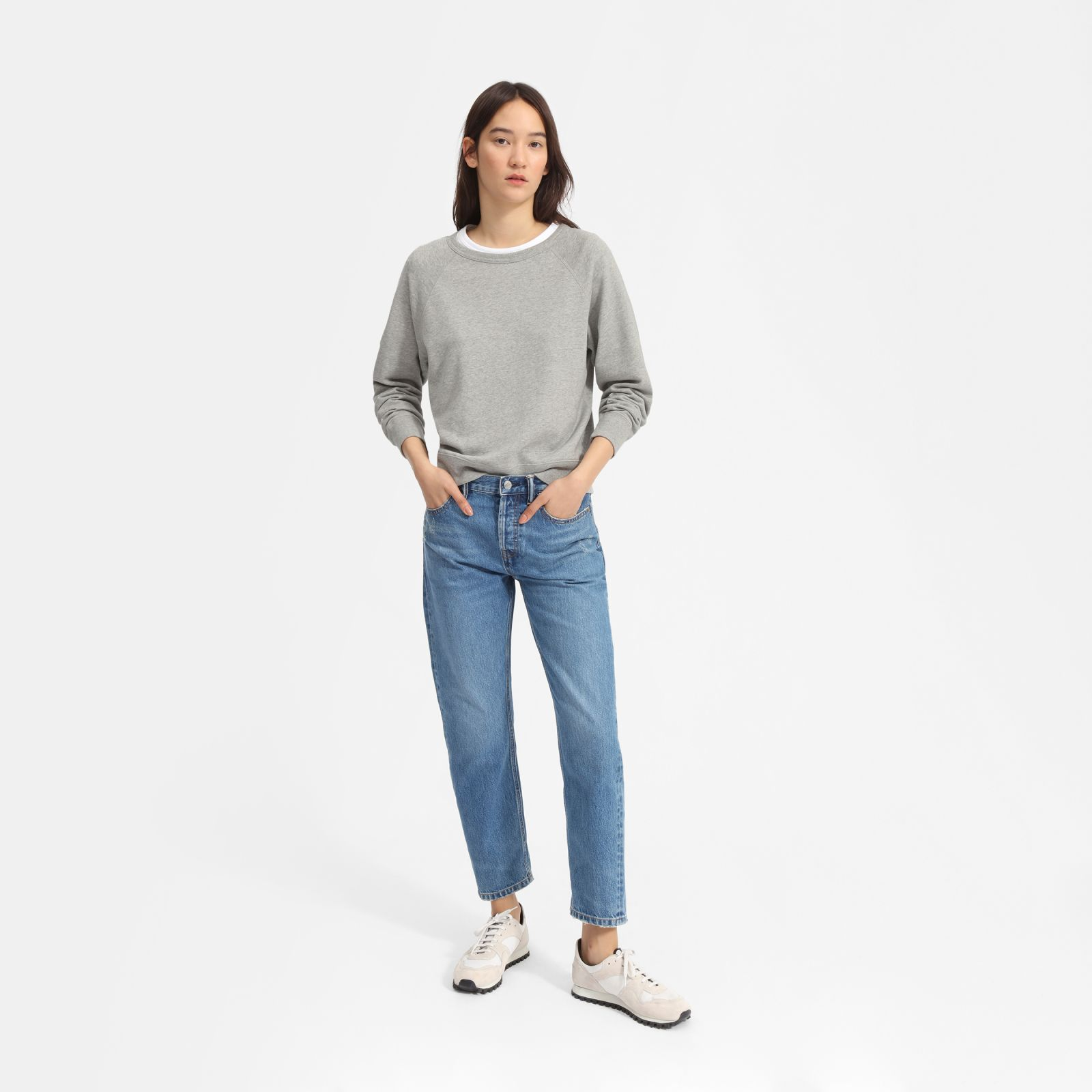 women's lightweight french terry crew sweater by everlane in heather grey, size xl