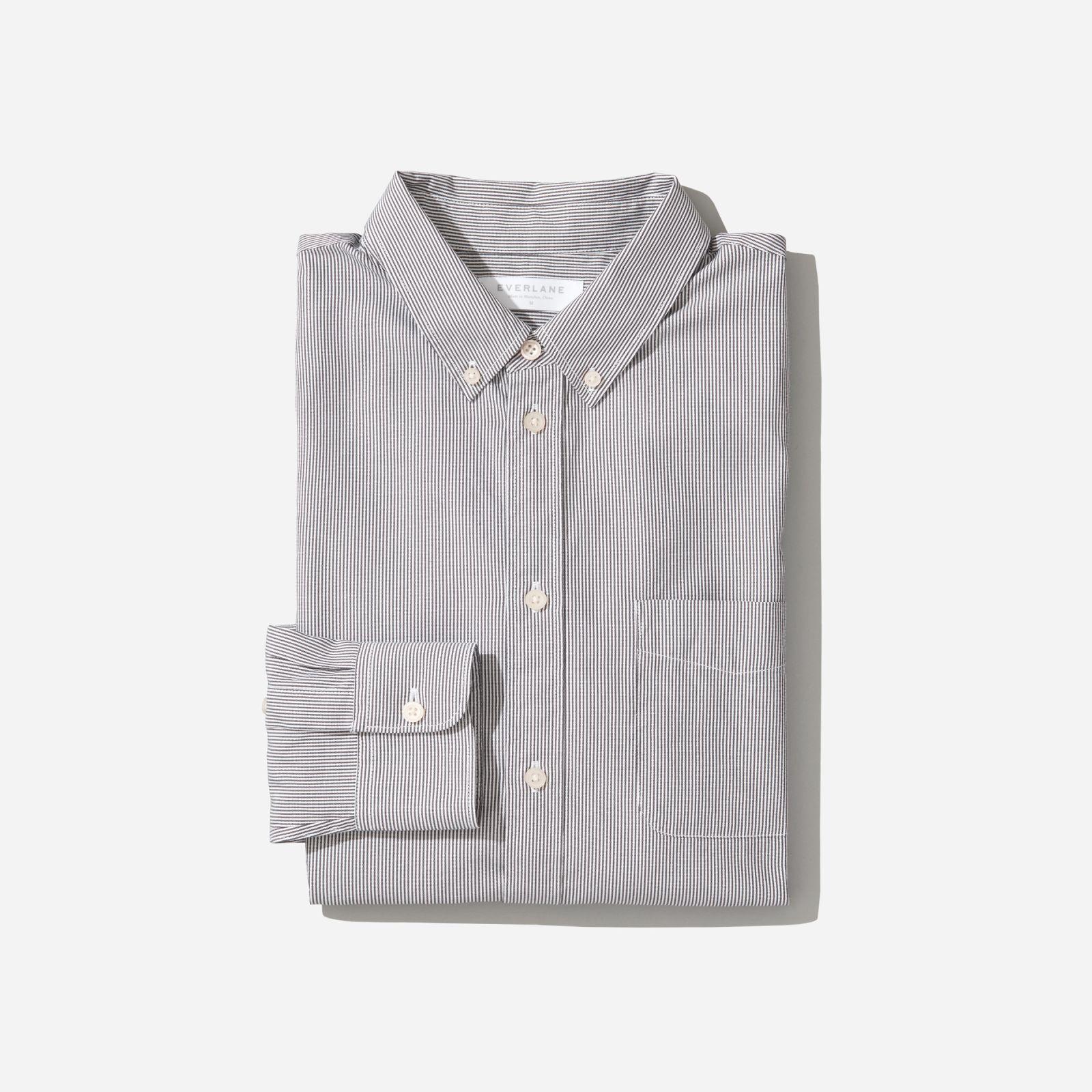 men's air oxford shirt by everlane in black / white mini stripe, size xl