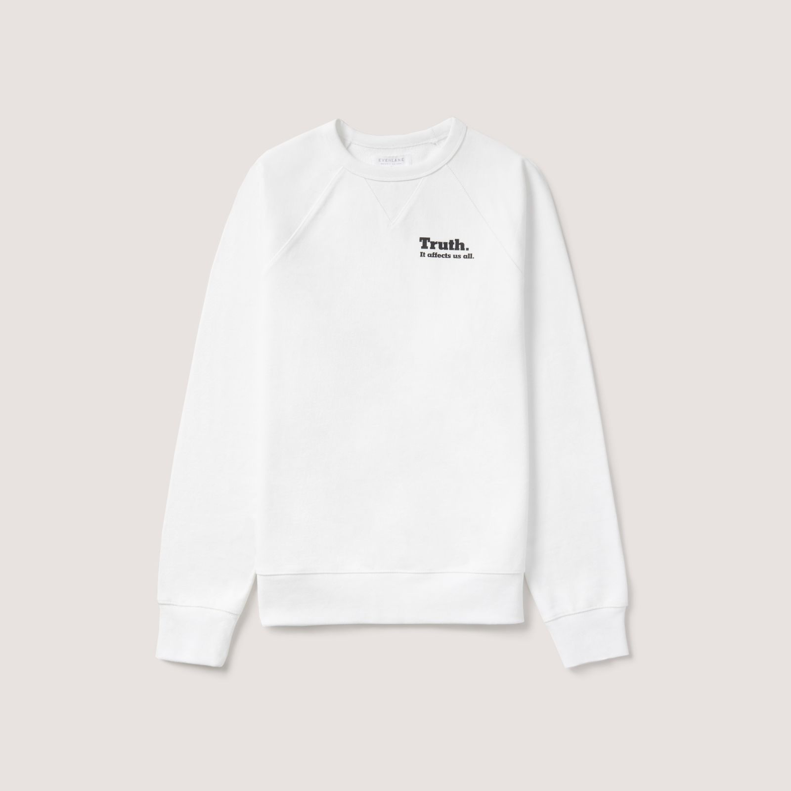 women's everlane 㗠new york times french terry crew sweater by everlane in white, size xl
