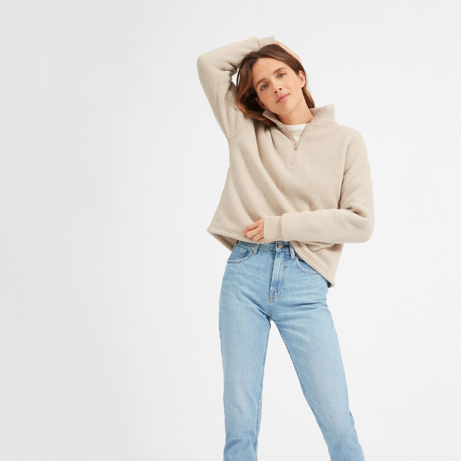 women's renew fleece half-zip sweater by everlane in oat, size xl