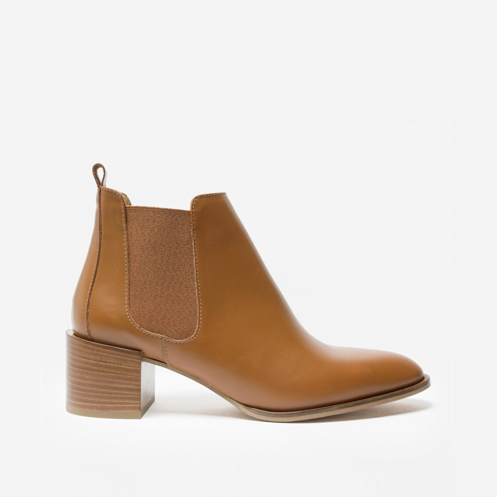women's heeled booties by everlane in cognac, size 11