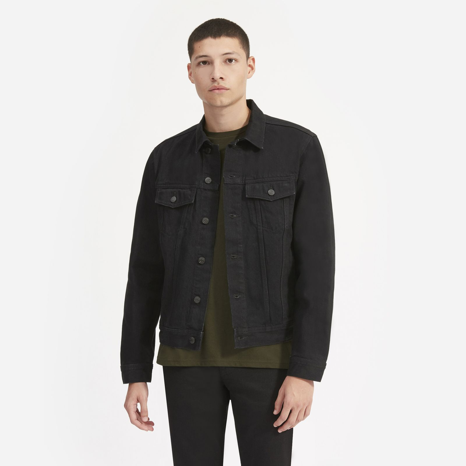 men's denim jacket by everlane in black, size xl