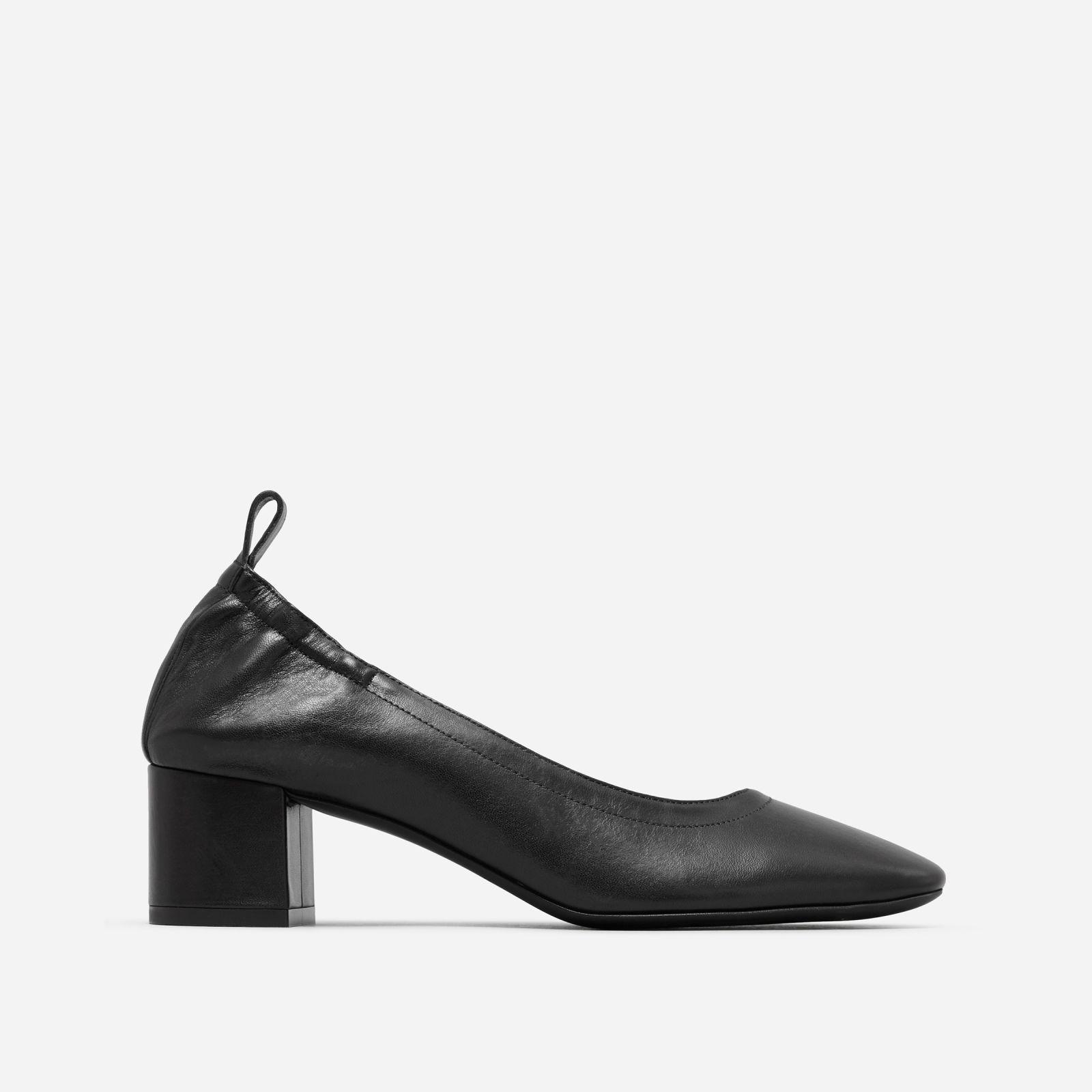 women's leather block heel pump by everlane in black, size 11