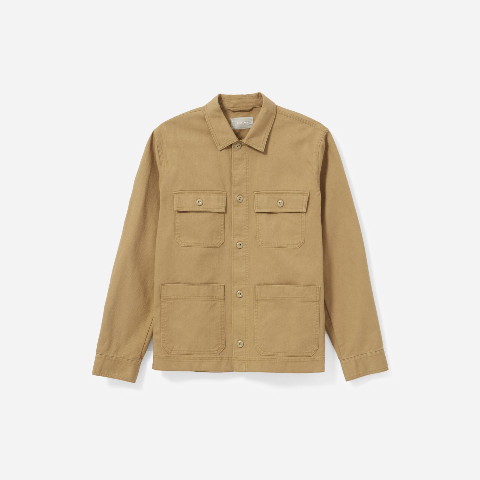 men's chore jacket by everlane in ochre, size l