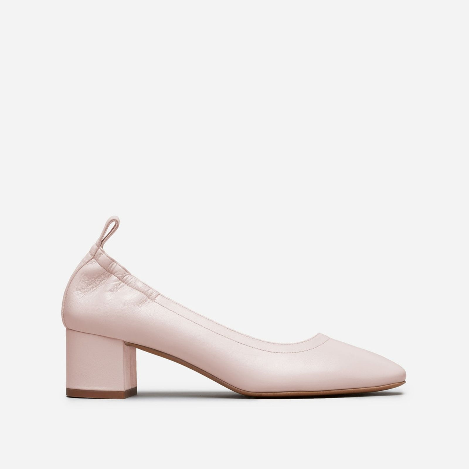 women's leather block heel pump by everlane in pale rose, size 11