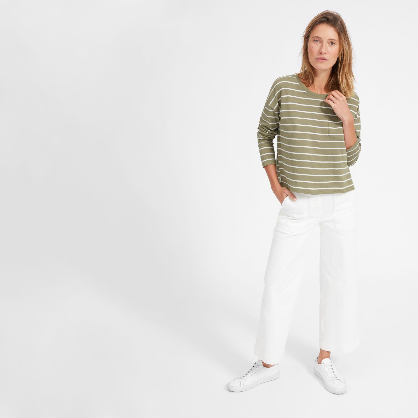 women's long-sleeve box-cut pocket t-shirt by everlane in covert green / white, size xxs