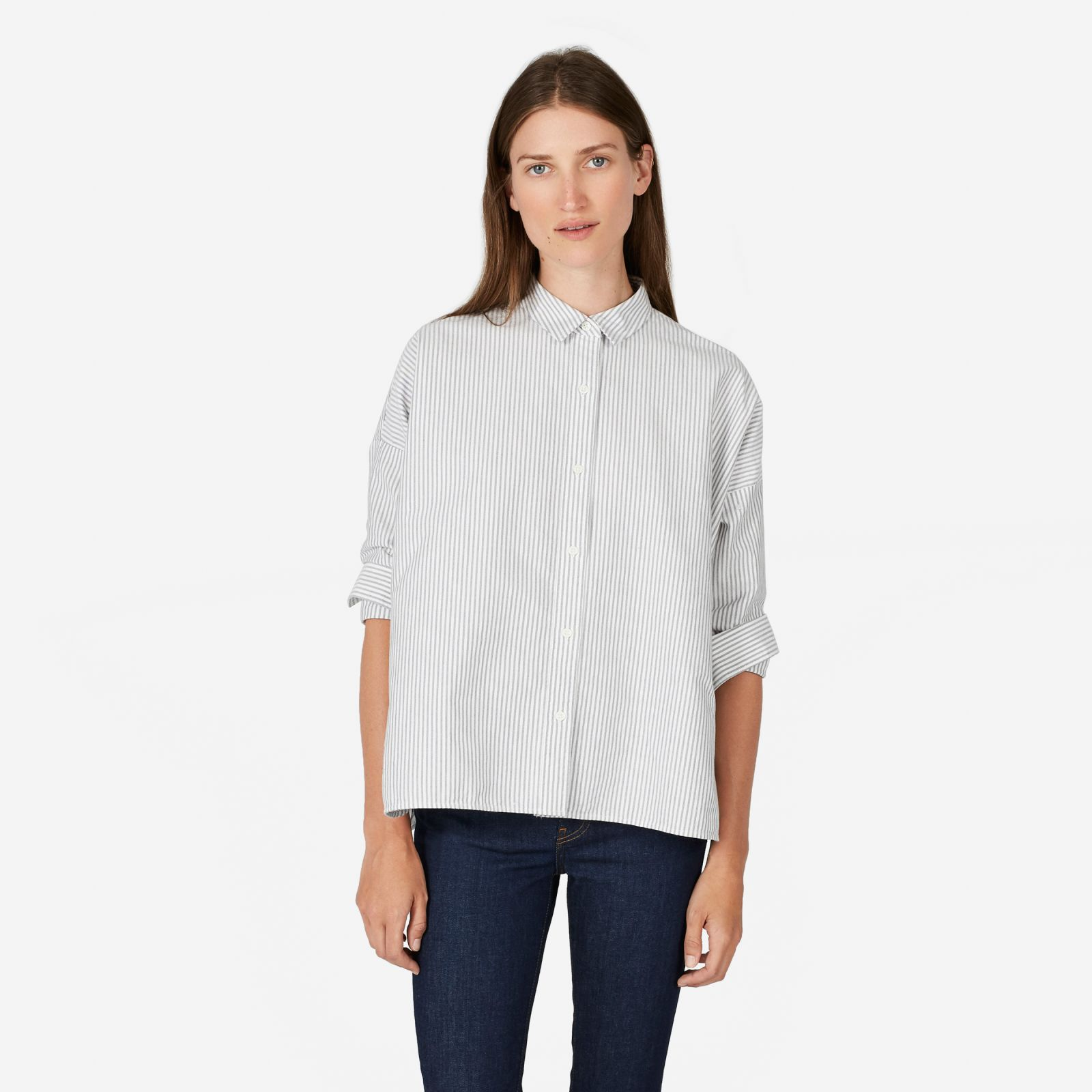 women's japanese oxford square shirt by everlane in white / black, size 12