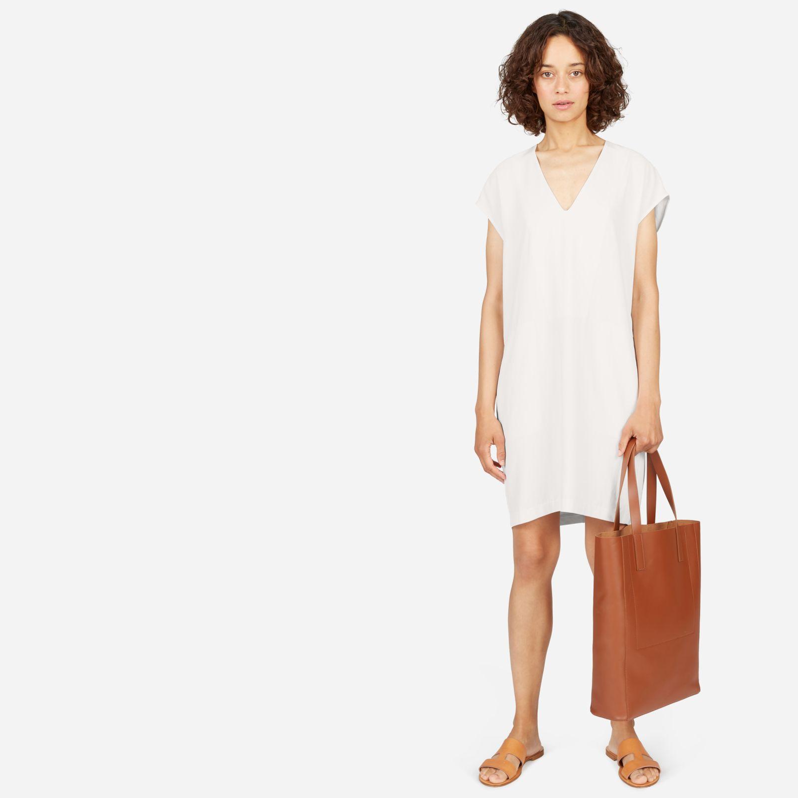 women's japanese goweave v-neck cocoon dress by everlane in bone, size 14