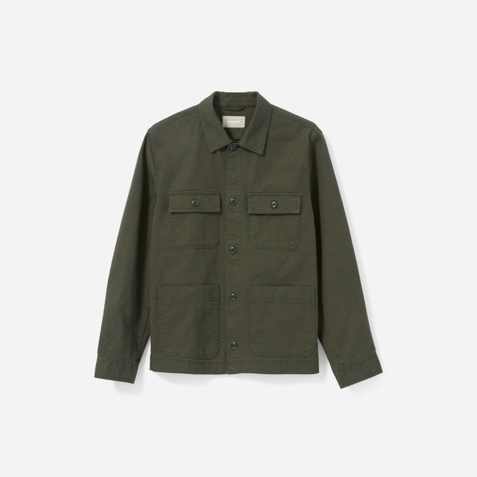 men's chore jacket by everlane in pine, size m