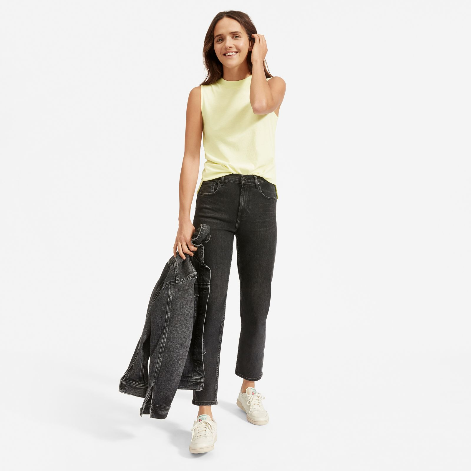 women's cotton mockneck muscle tank sweater by everlane in pale yellow, size xl