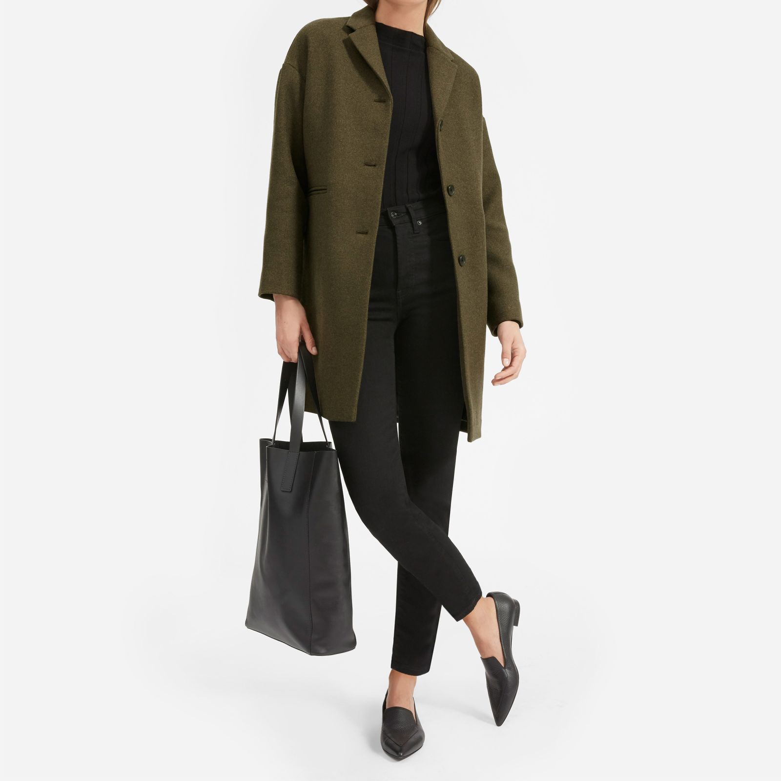 women's cocoon coat by everlane in peat, size 14