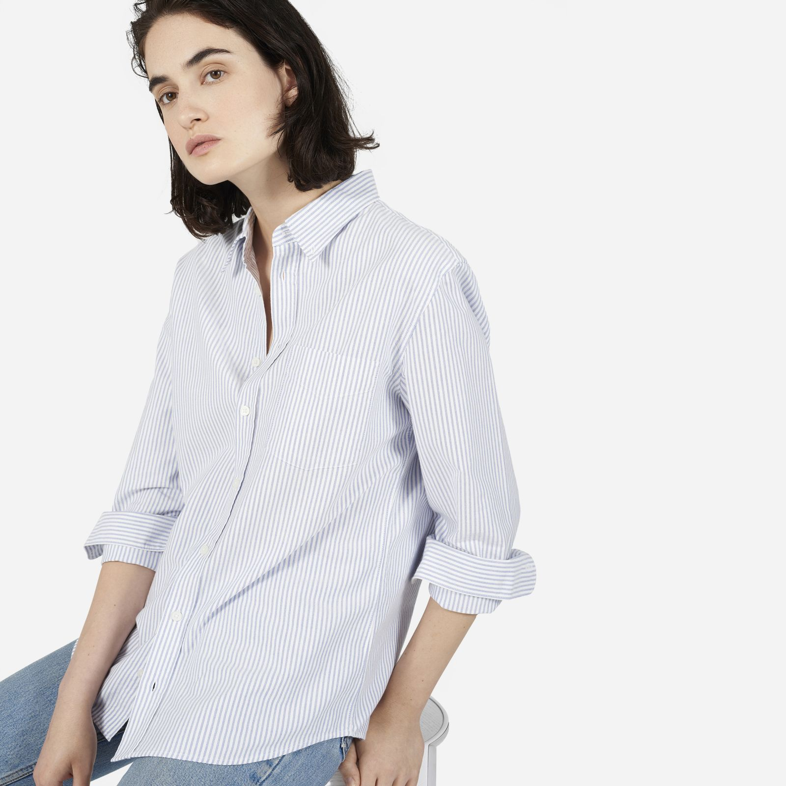 women's men's japanese slim fit oxford shirt by everlane in white/blue, size xl
