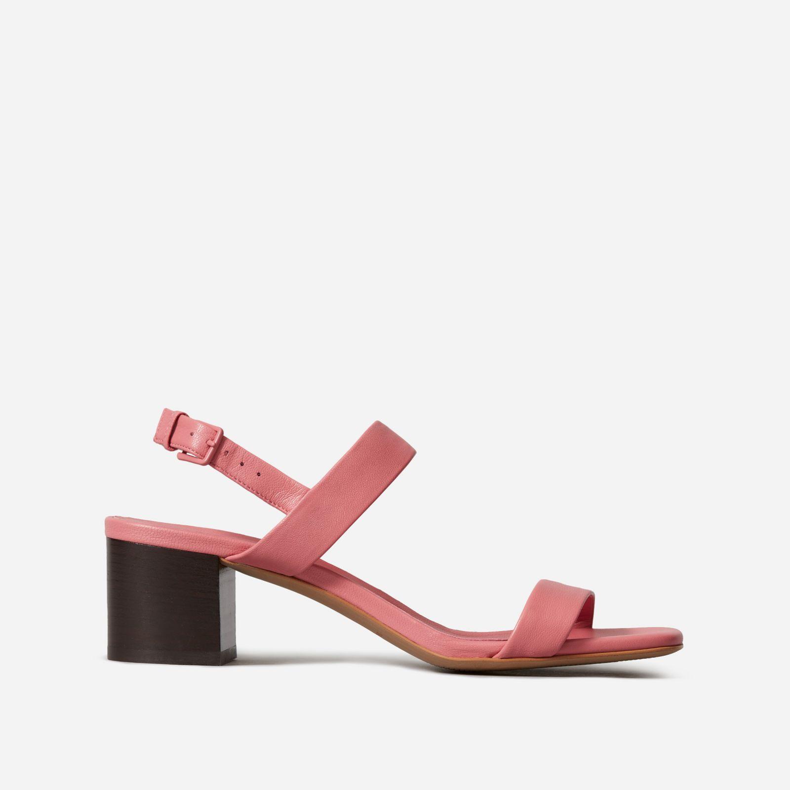 women's double-strap block heel sandal by everlane in strawberry, size 11