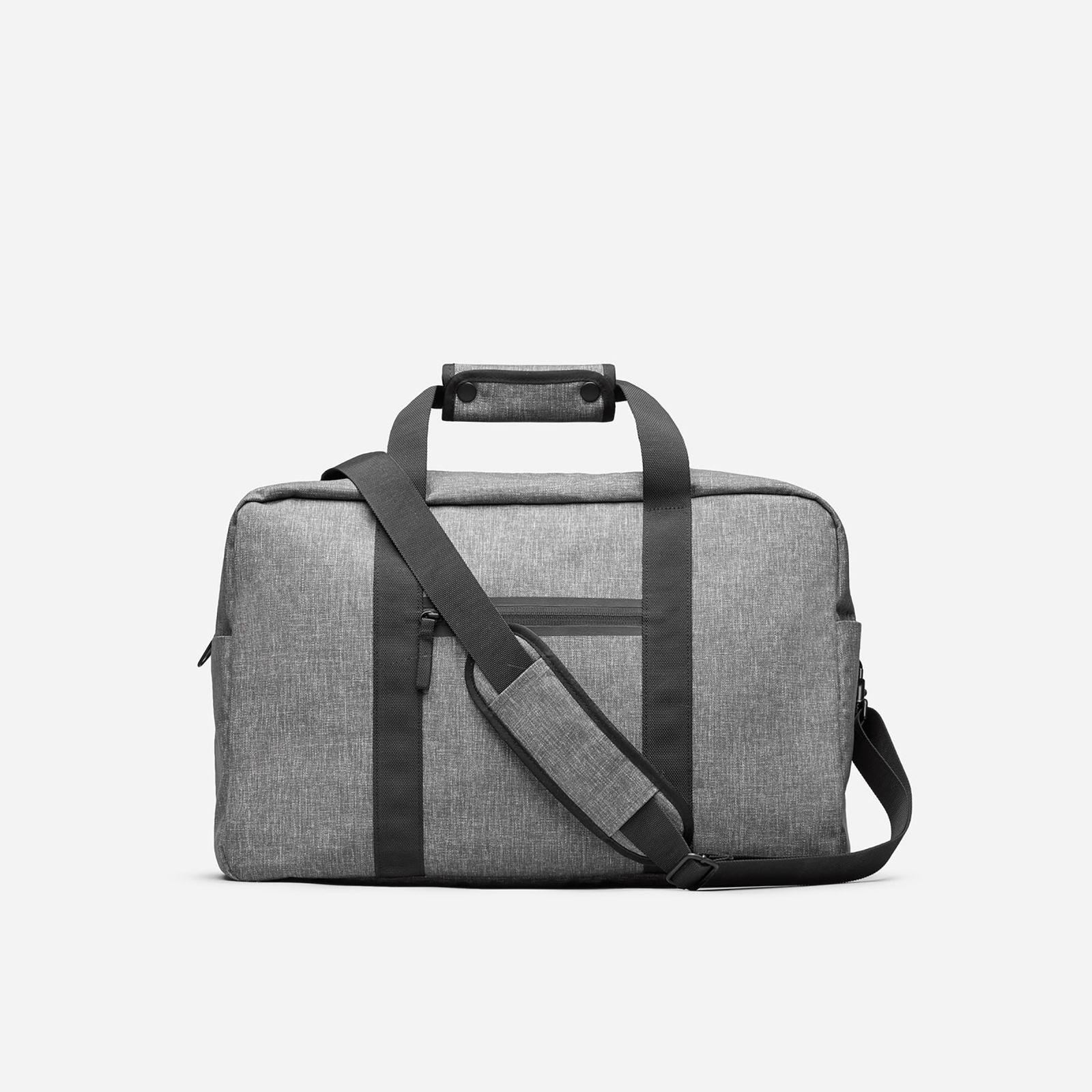 nylon weekender bag by everlane in light grey crosshatch