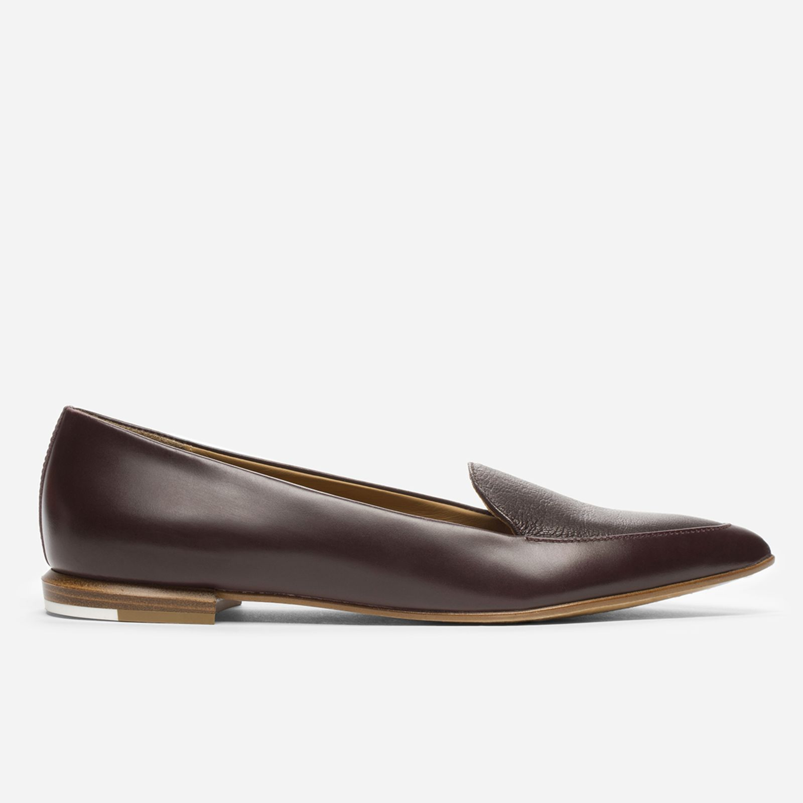 women's leather flats by everlane in burgundy, size 9.5