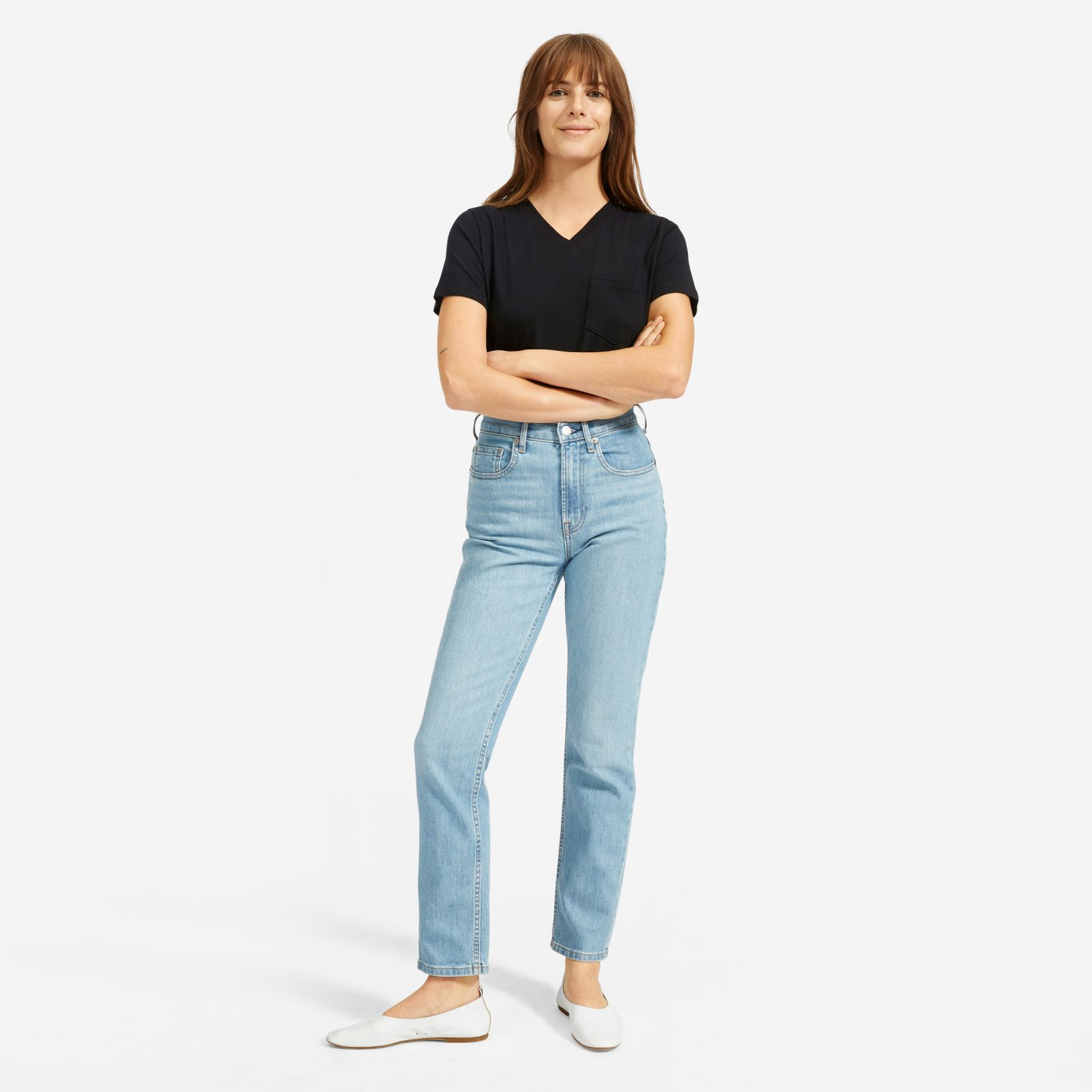 women's cotton box-cut v-neck t-shirt by everlane in black, size xl