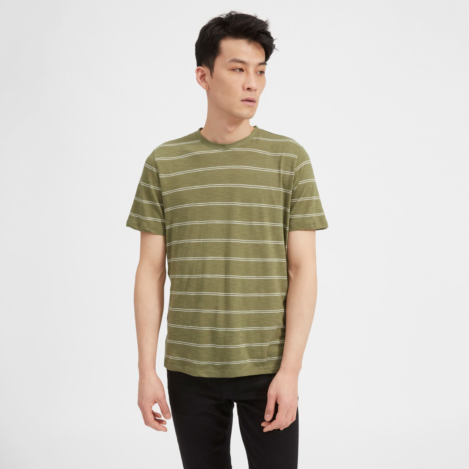 men's air crew t-shirt by everlane in covert green / white double stripe, size xl