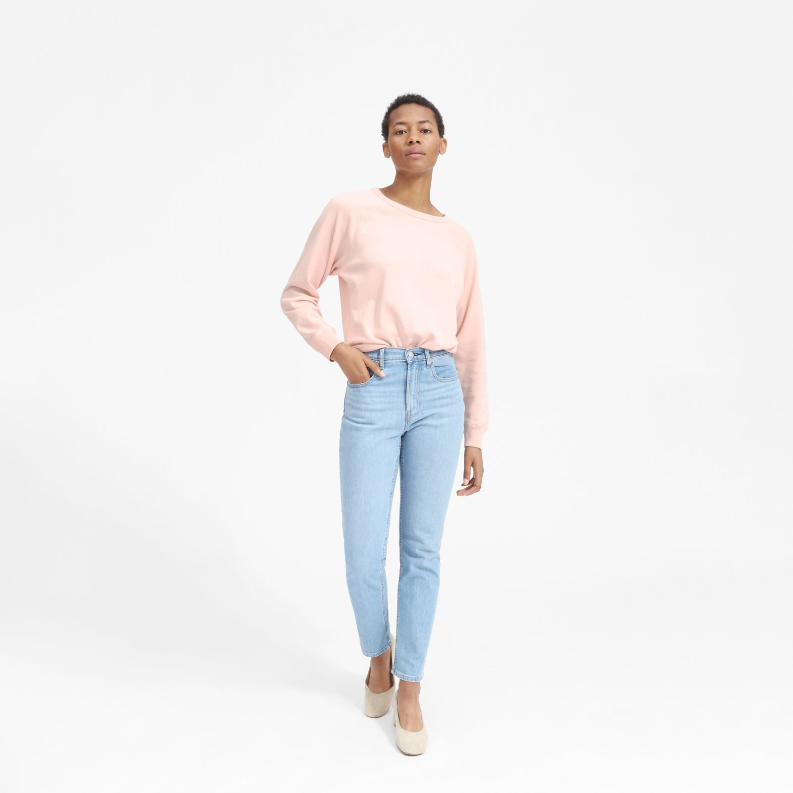women's lightweight french terry crew sweater by everlane in light peach, size xl