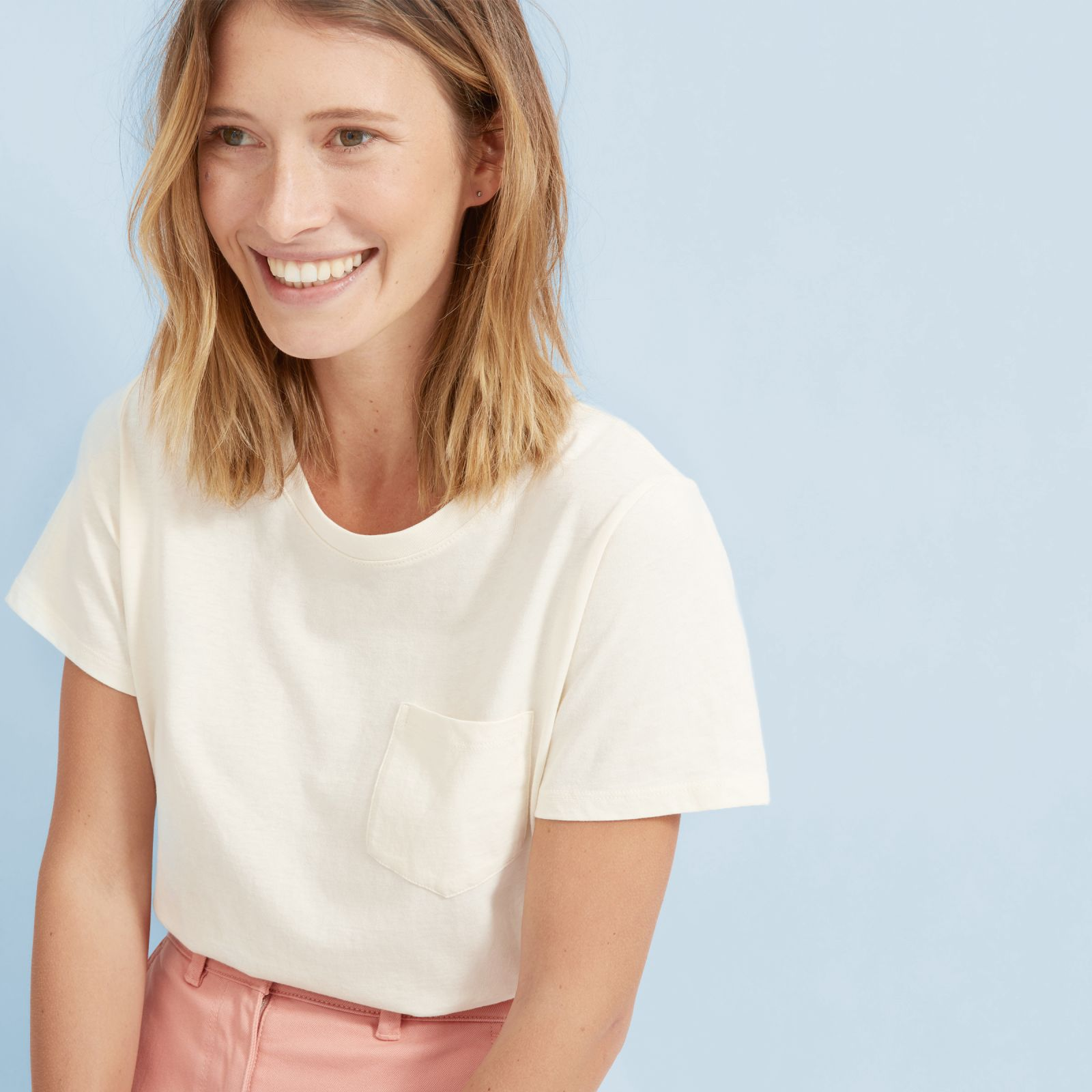 women's cotton box-cut pocket t-shirt by everlane in pale yellow, size xl