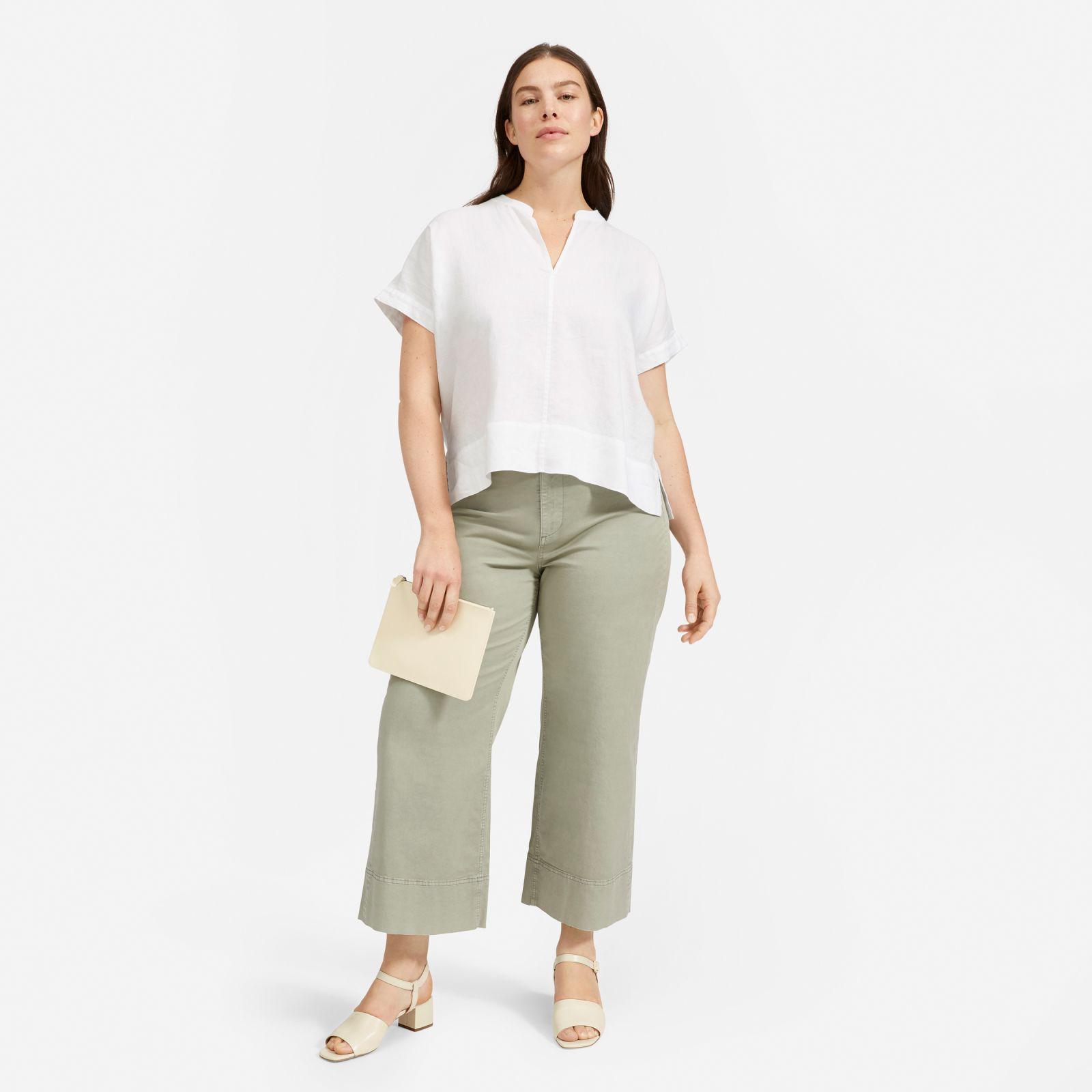 women's linen split-neck top shirt by everlane in white, size 16