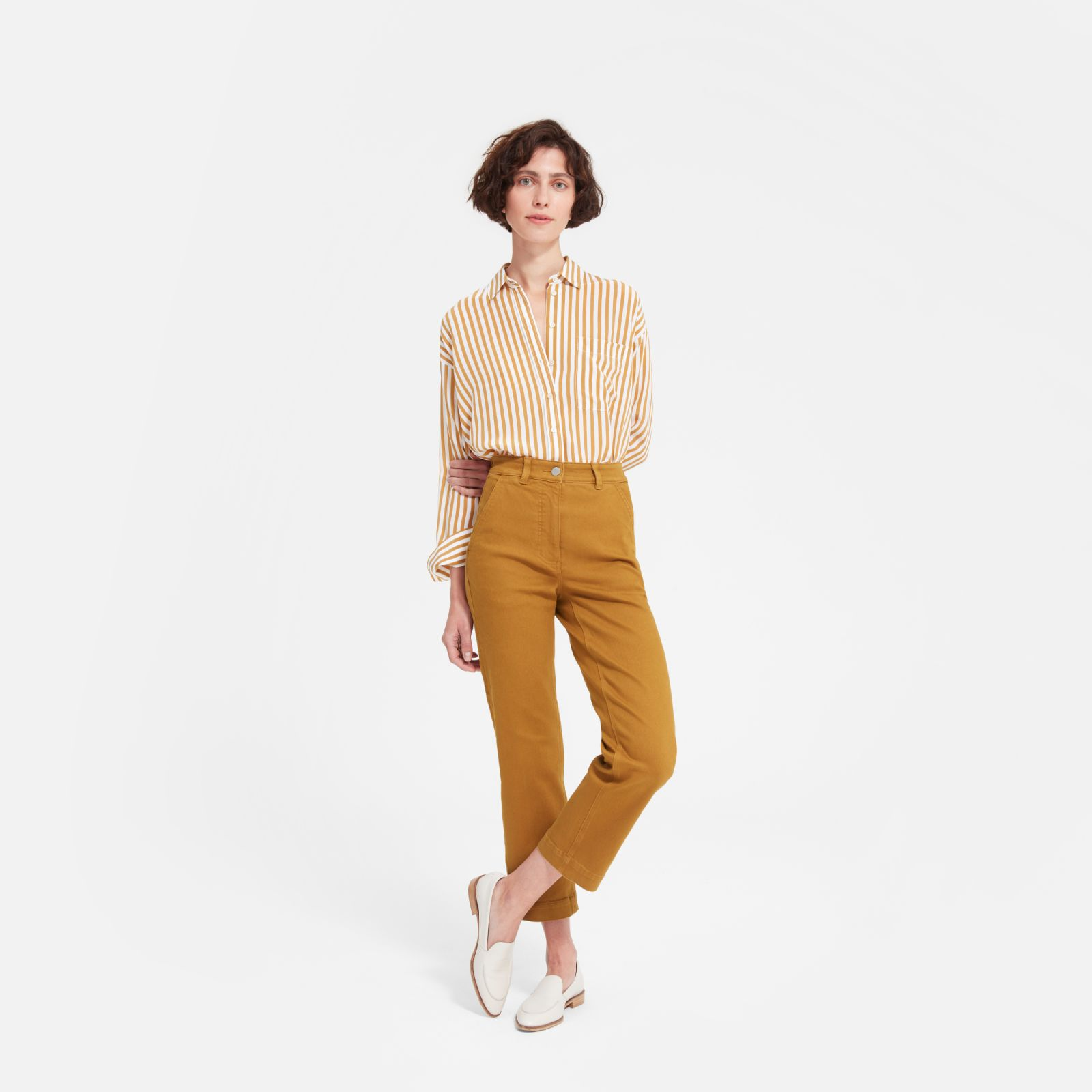 women's straight leg crop by everlane in golden brown, size 16