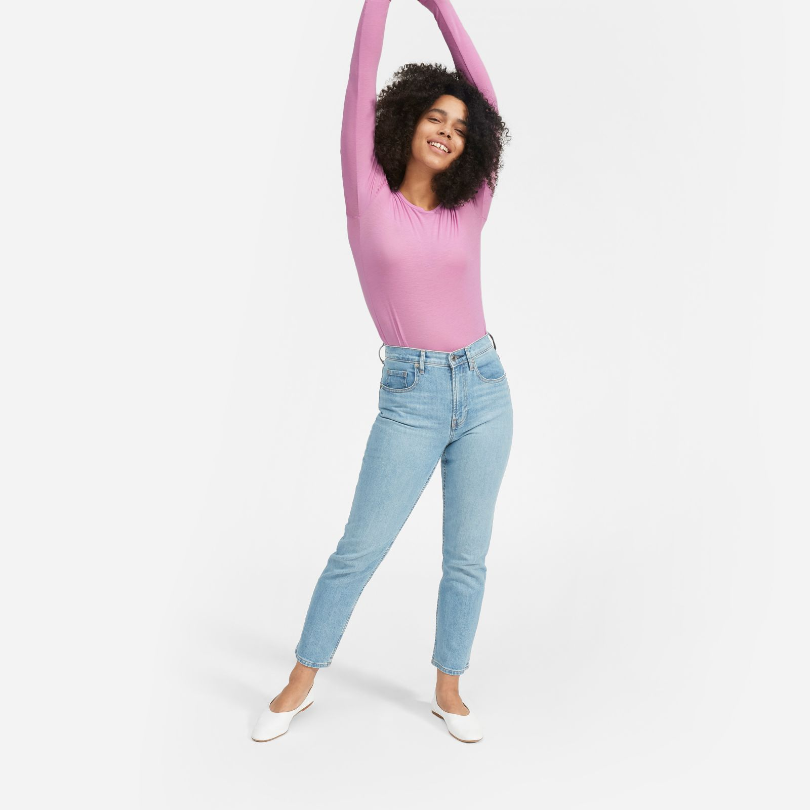women's pima stretch long-sleeve t-shirt by everlane in phlox, size xl