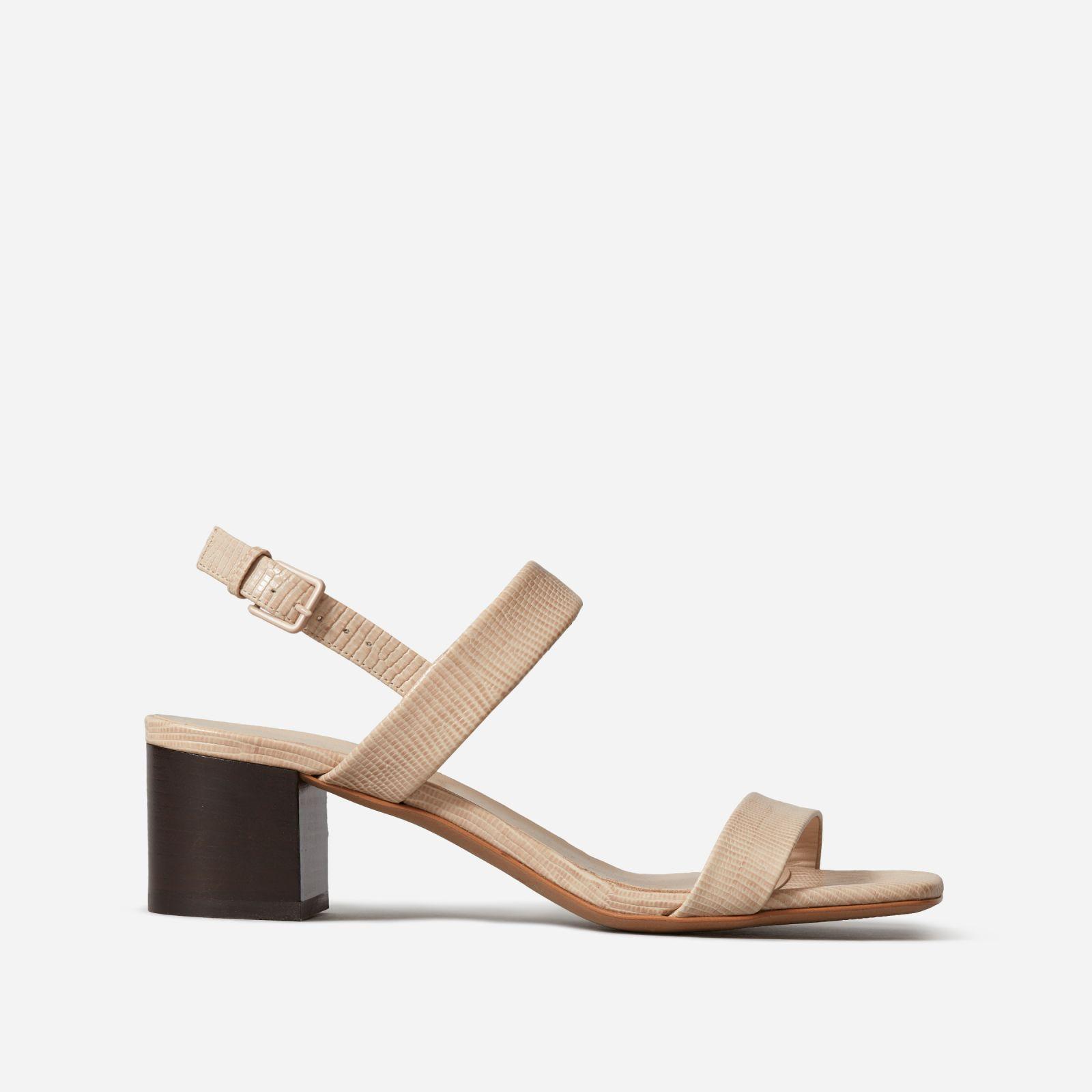 women's double-strap block heel sandal by everlane in sand lizard, size 11