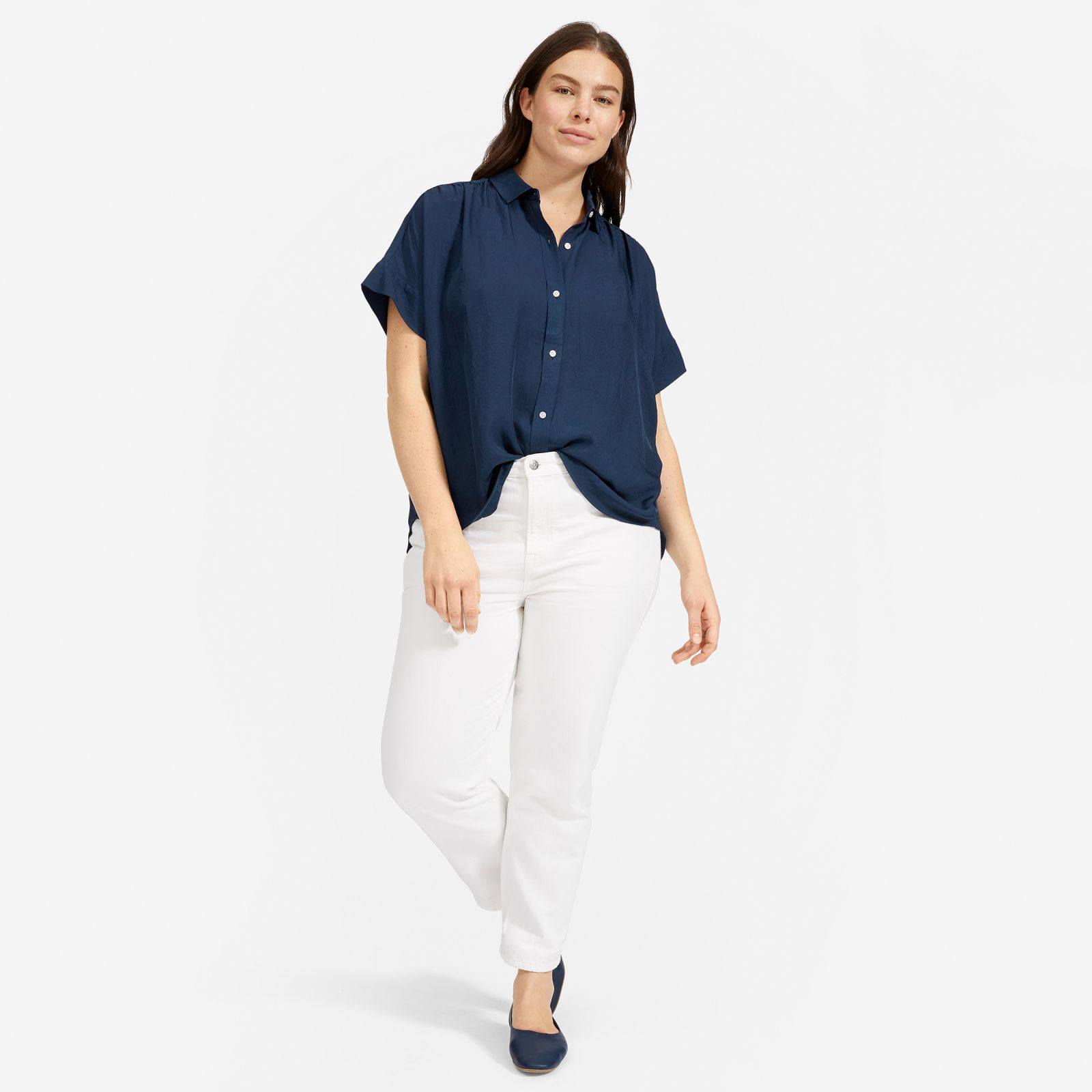 women's japanese goweave light square shirt by everlane in navy, size 16