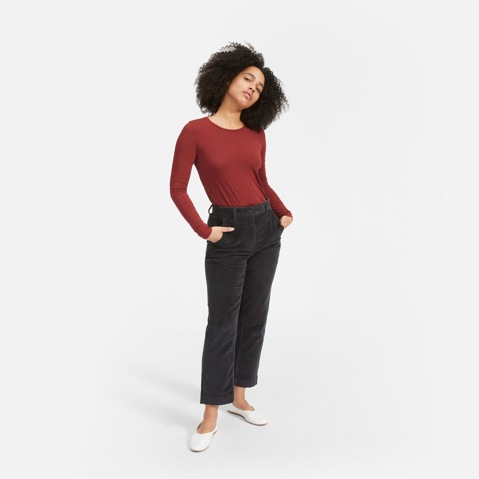 women's pima stretch long-sleeve t-shirt by everlane in crimson, size xl
