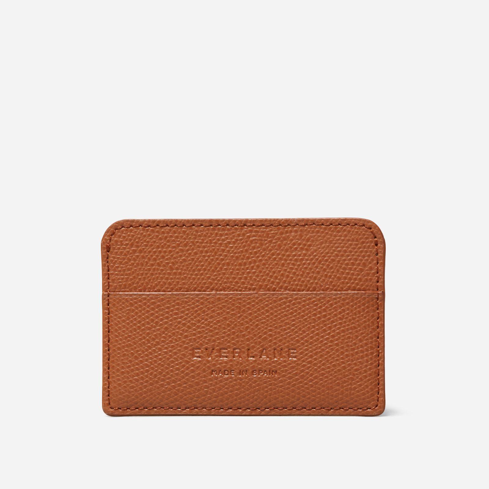 women's card case by everlane in cognac