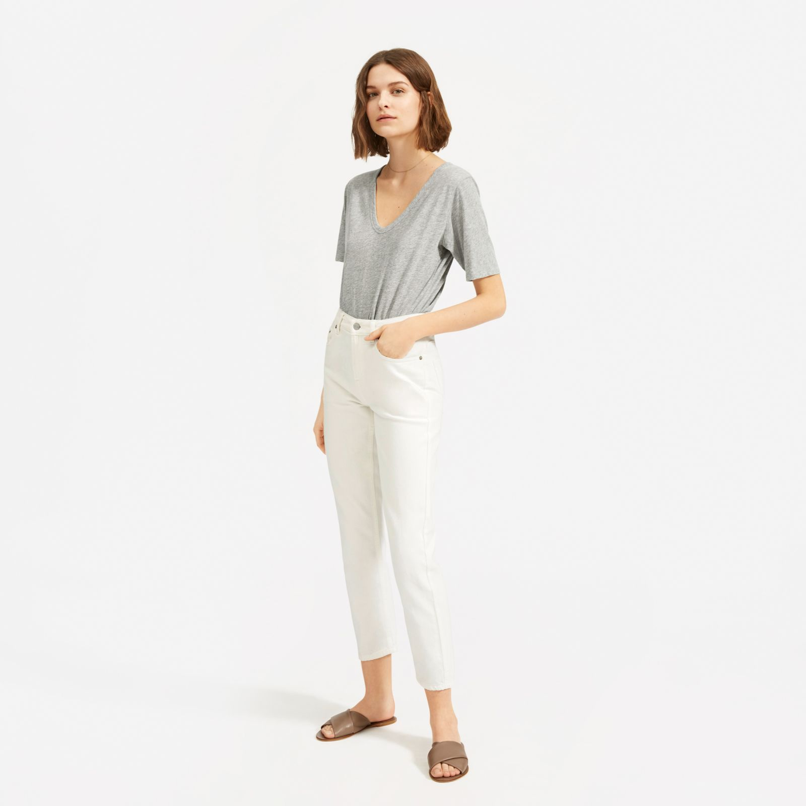 women's air oversized v-neck t-shirt by everlane in heather grey, size xl