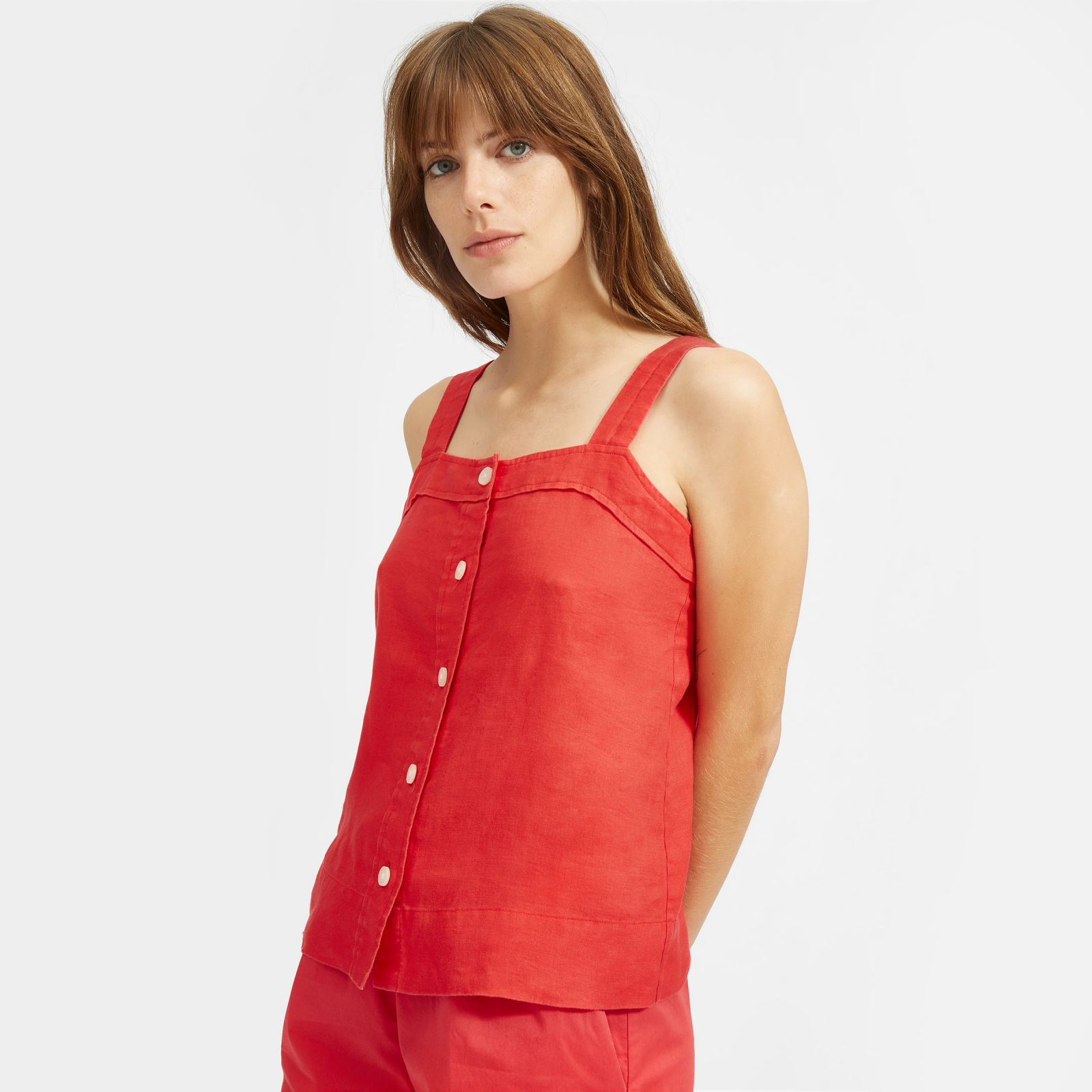 women's linen picnic top shirt by everlane in tomato, size 16