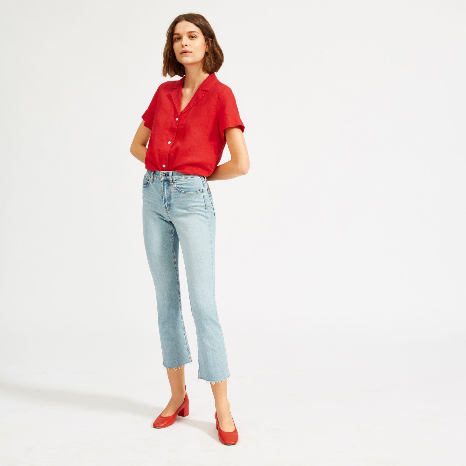 women's linen notch short-sleeve shirt by everlane in tomato, size 16