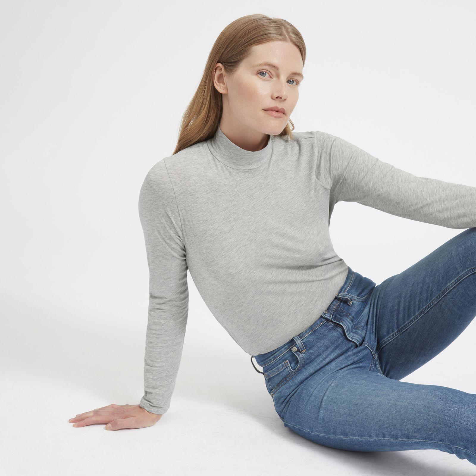 women's pima stretch turtleneck sweater by everlane in heather grey, size xl